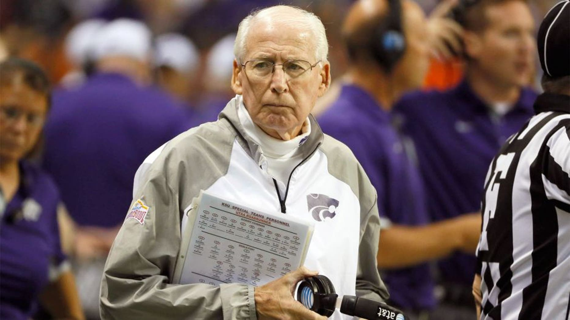 Sep 12, 2015; San Antonio, TX, USA; Kansas State Wildcats head coach Bill Snyder looks on prior to the game against the UTSA Roadrunners at Alamodome. Mandatory Credit: Soobum Im-USA TODAY Sports