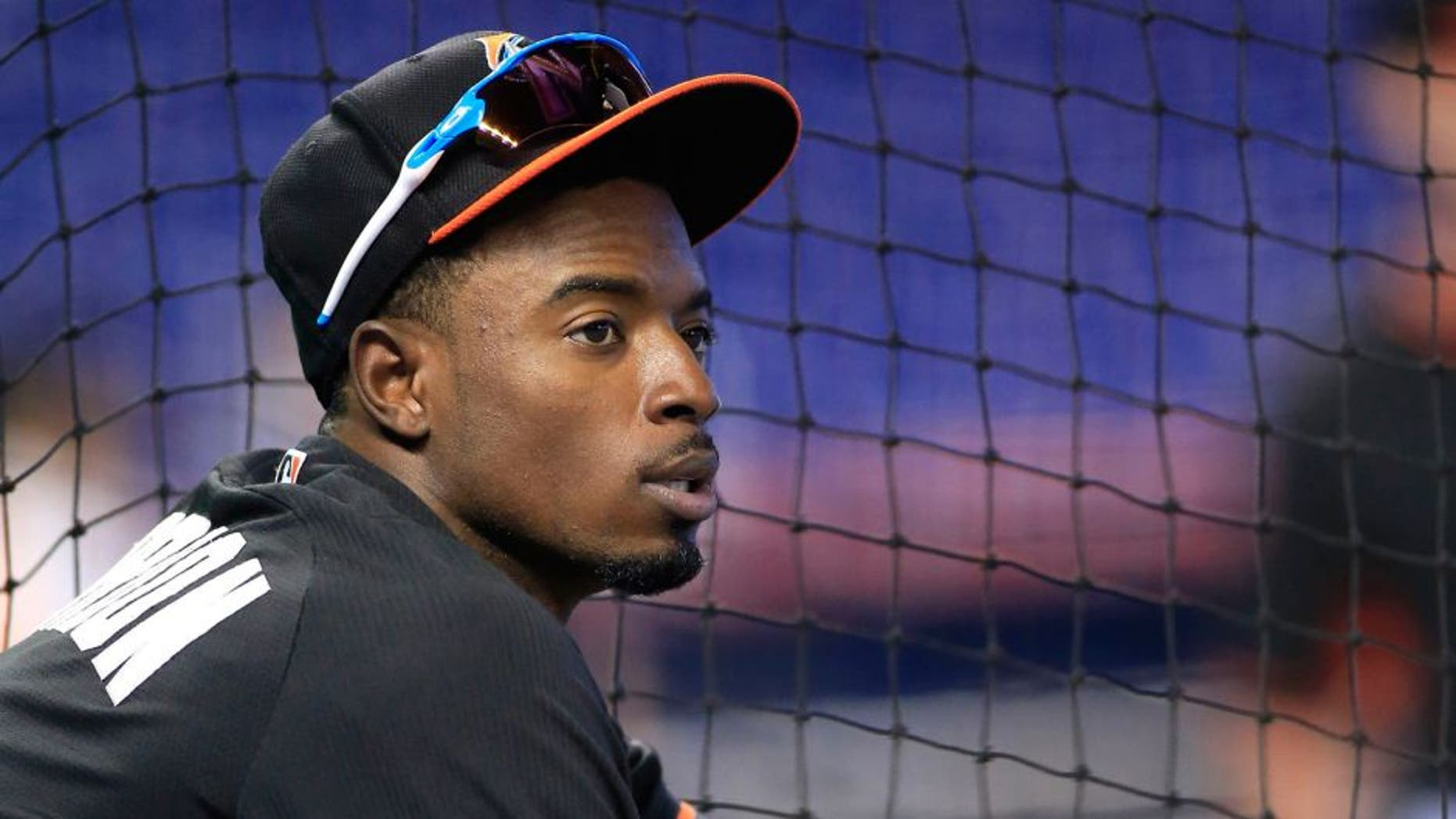 Sep 12, 2015; Miami, FL, USA; Miami Marlins second baseman Dee Gordon during batting practice before a game against the Washington Nationals at Marlins Park. Mandatory Credit: Robert Mayer-USA TODAY Sports