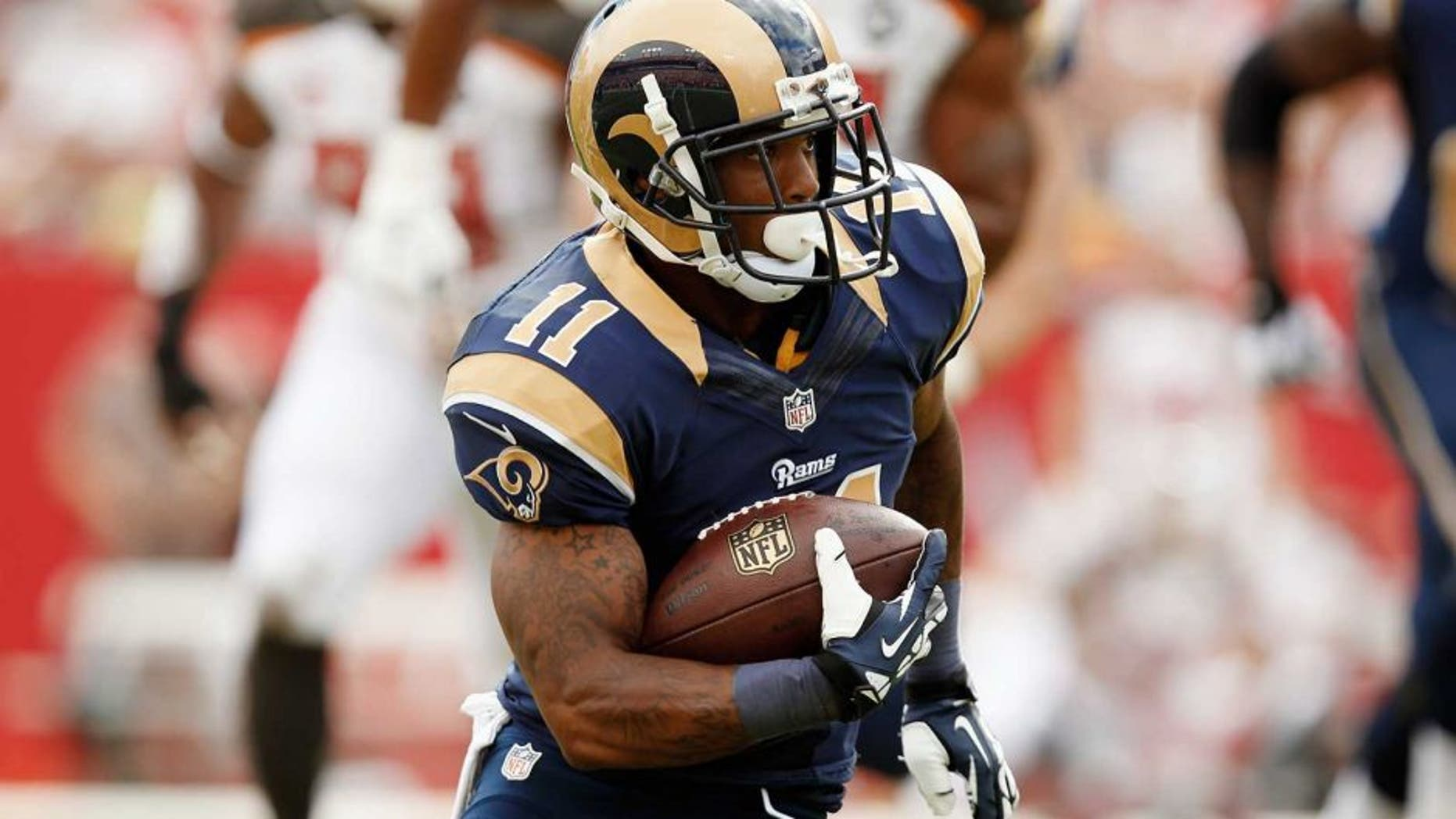 TAMPA, FL - SEPTEMBER 14: Wide receiver Tavon Austin #11 of the St. Louis Rams runs with the ball against the Tampa Bay Buccaneers at Raymond James Stadium on September 14, 2014 in Tampa, Florida. (Photo by Scott Iskowitz/Getty Images)