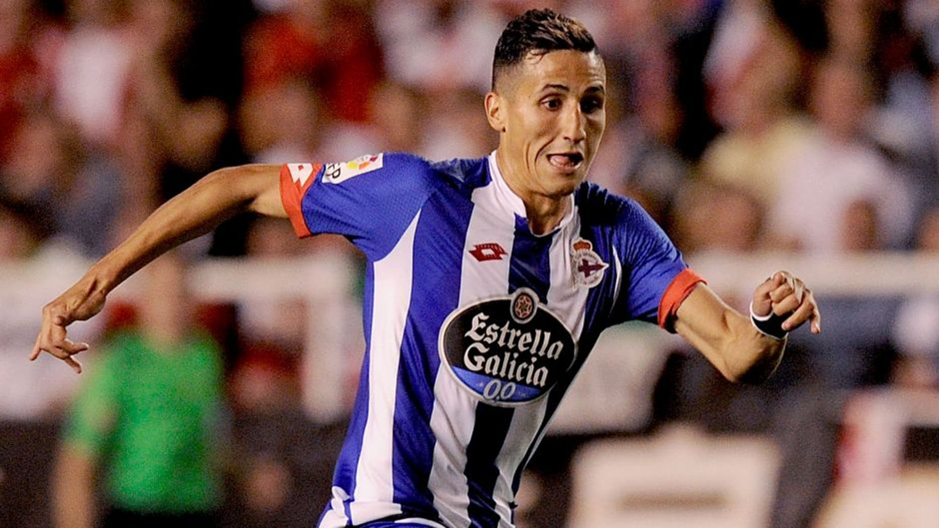 MADRID, SPAIN - SEPTEMBER 14: Faycal Fajr of RC Deportivo la Coruna in action during the La Liga match between Rayo Vallecano and RC Deportivo La Coruna at Estadio Teresa Rivero on September 14, 2015 in Madrid, Spain. (Photo by Denis Doyle/Getty Images)