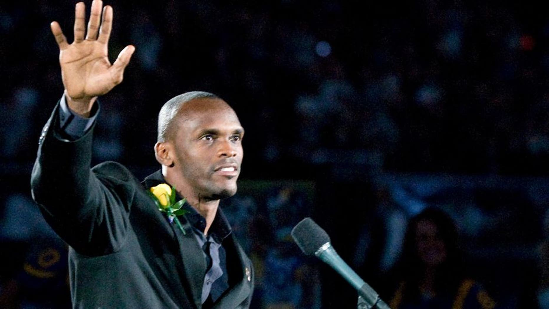 October 31, 2010; St. Louis, MO, USA; St. Louis Rams former wide receiver Isaac Bruce (80) waves to fans during a ceremony to retire his number before a game against the Carolina Panthers at the Edward Jones Dome. Mandatory Credit: Jeff Curry-USA TODAY Sports