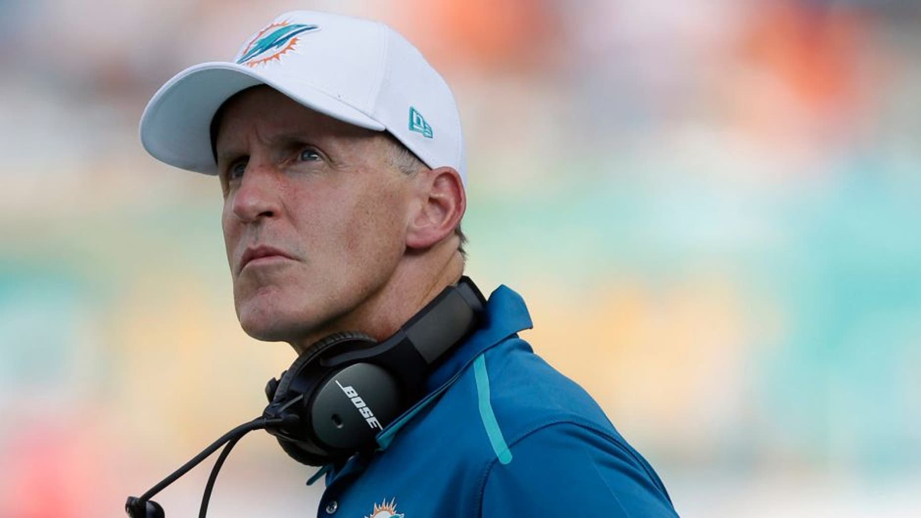 Miami Dolphins head coach Joe Philbin looks up during the second half of an NFL football game against the Kansas City Chiefs, Sunday, Sept. 21, 2014, in Miami Gardens, Fla. (AP Photo/Wilfredo Lee)