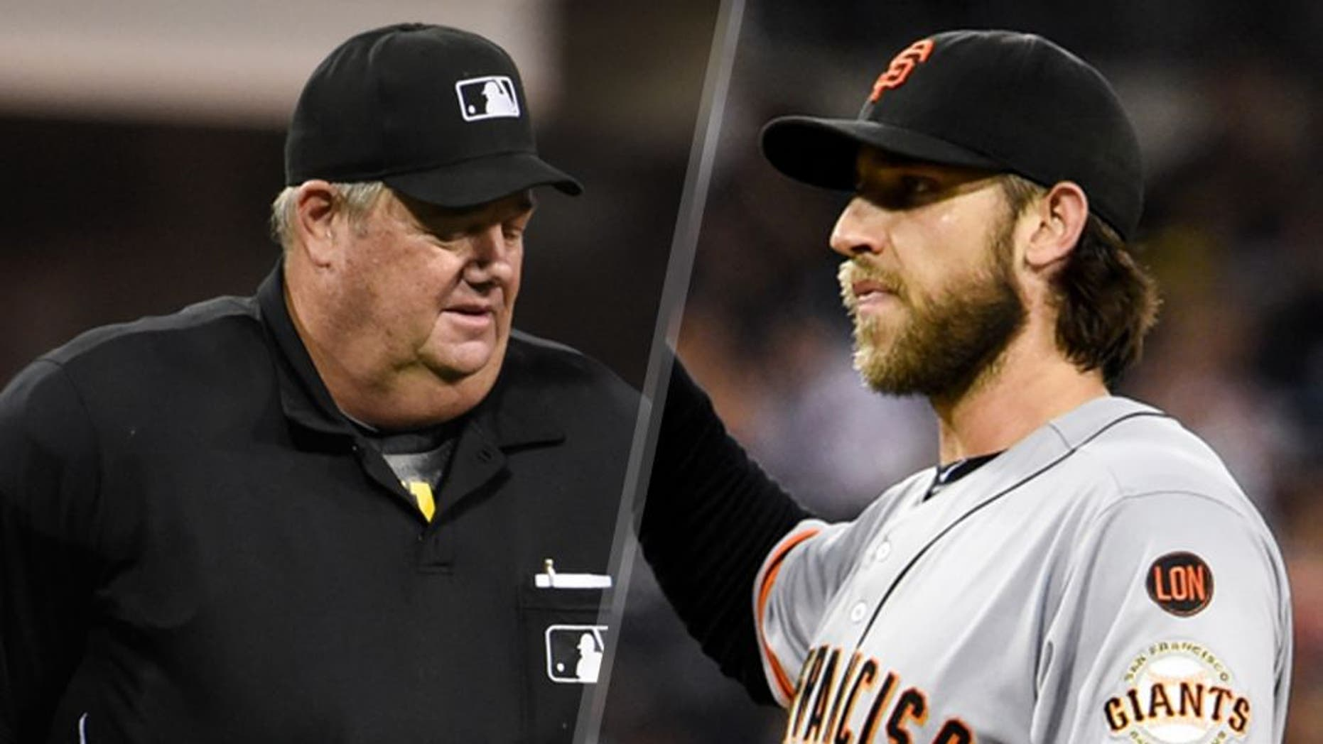 SAN DIEGO, CA - SEPTEMBER 24: Manager Pat Murphy #24 of the San Diego Padres argues a call with umpire Joe West during the fifth inning of a baseball game against the San Francisco Giants at Petco Park September 24, 2015 in San Diego, California. (Photo by Denis Poroy/Getty Images) SAN DIEGO, CA - SEPTEMBER 24: Madison Bumgarner #40 of the San Francisco Giants stands on the mound as Derek Norris #3 of the San Diego Padres rounds the bases after hitting a three-run home run during the second inning of a baseball game at Petco Park September 24, 2015 in San Diego, California. (Photo by Denis Poroy/Getty Images)
