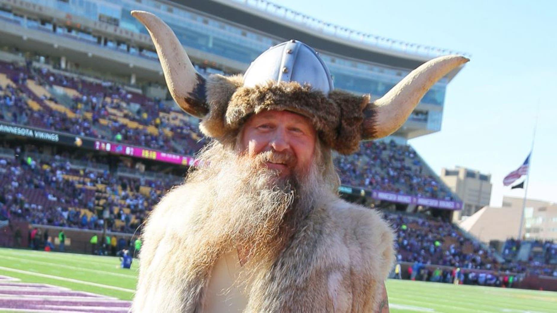 MINNEAPOLIS, MN - OCTOBER 12: Minnesota Vikings mascot Ragnar poses on the field before the game against the Detroit Lions on October 12, 2014 at TCF Bank Stadium in Minneapolis, Minnesota. (Photo by Adam Bettcher/Getty Images)