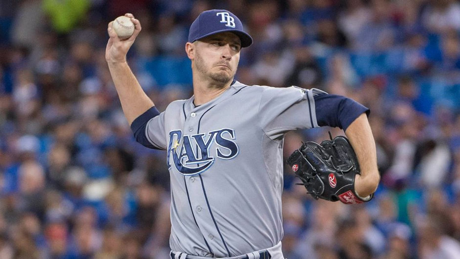 Sep 25, 2015; Toronto, Ontario, CAN; Tampa Bay Rays starting pitcher Jake Odorizzi (23) throws a pitch during the first inning in a game against the Toronto Blue Jays at Rogers Centre. Mandatory Credit: Nick Turchiaro-USA TODAY Sports