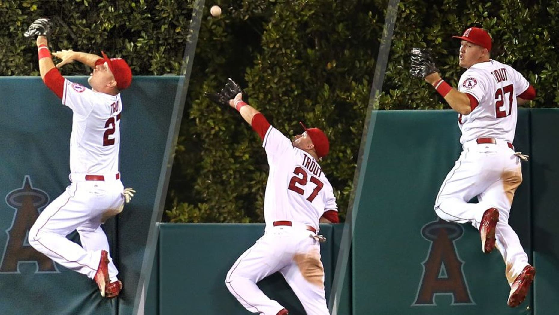 September 26, 2015; Anaheim, CA, USA; Los Angeles Angels center fielder Mike Trout (27) climbs the fence in the fourth inning to catch a fly ball hit by Seattle Mariners first baseman Jesus Montero (not pictured) at Angel Stadium of Anaheim. Mandatory Credit: Gary A. Vasquez-USA TODAY Sports ANAHEIM, CA - SEPTEMBER 26: Center fielder Mike Trout #27 of the Los Angeles Angels of Anaheim jumps at the wall and makes the catch to take a home away from Jesus Montero of the Seattle Mariners in the fourth inning at Angel Stadium of Anaheim on September 26, 2015 in Anaheim, California. (Photo by Stephen Dunn/Getty Images) ANAHEIM, CA - SEPTEMBER 26: Center fielder Mike Trout #27 of the Los Angeles Angels of Anaheim reacts after jumping at the wall and making the catch to take a home away from Jesus Montero of the Seattle Mariners in the fourth inning at Angel Stadium of Anaheim on September 26, 2015 in Anaheim, California. (Photo by Stephen Dunn/Getty Images)