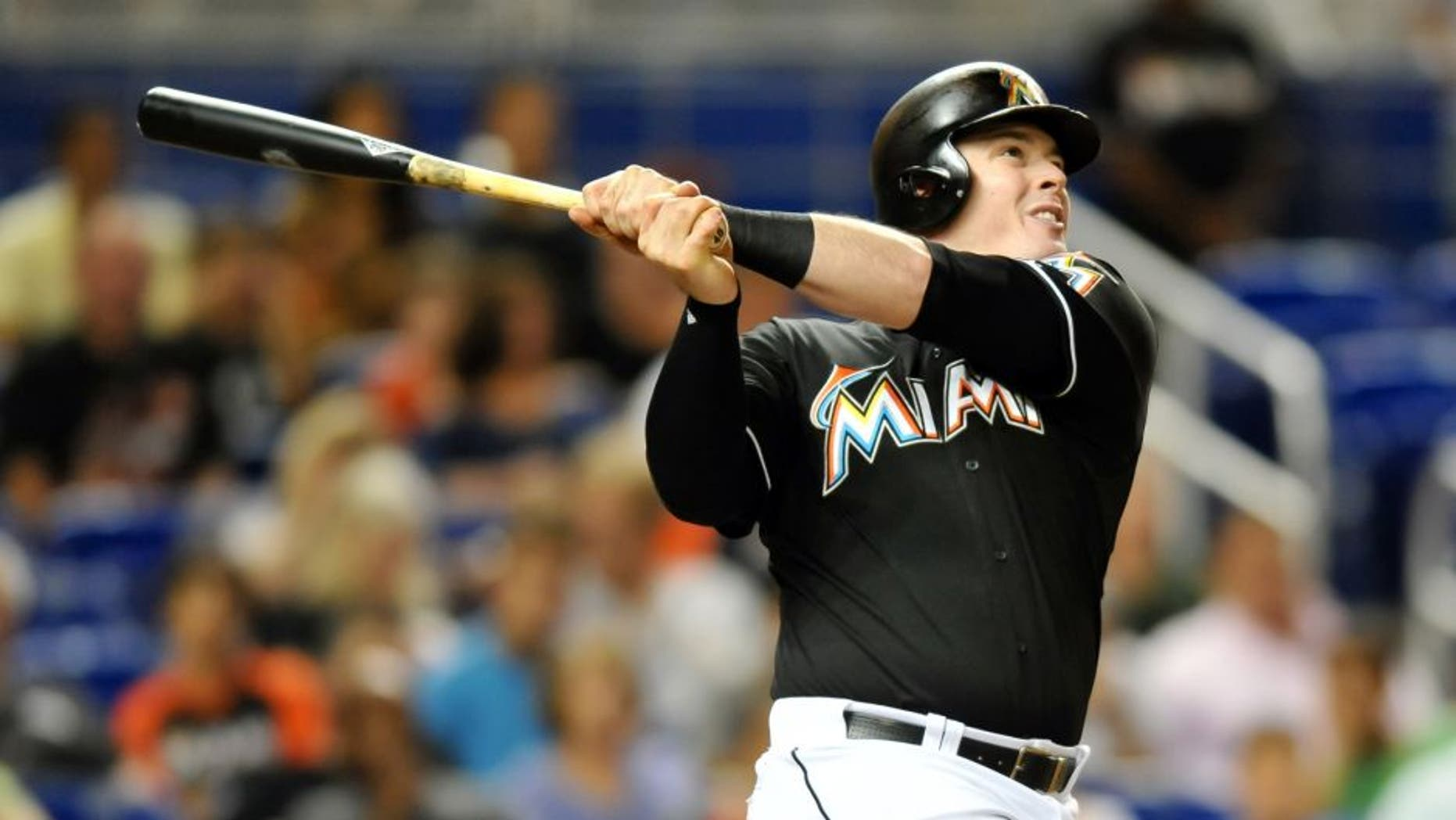 Sep 26, 2015; Miami, FL, USA; Miami Marlins first baseman Justin Bour (48) connects for a two run home run during the first inning against the Atlanta Braves at Marlins Park. Mandatory Credit: Steve Mitchell-USA TODAY Sports