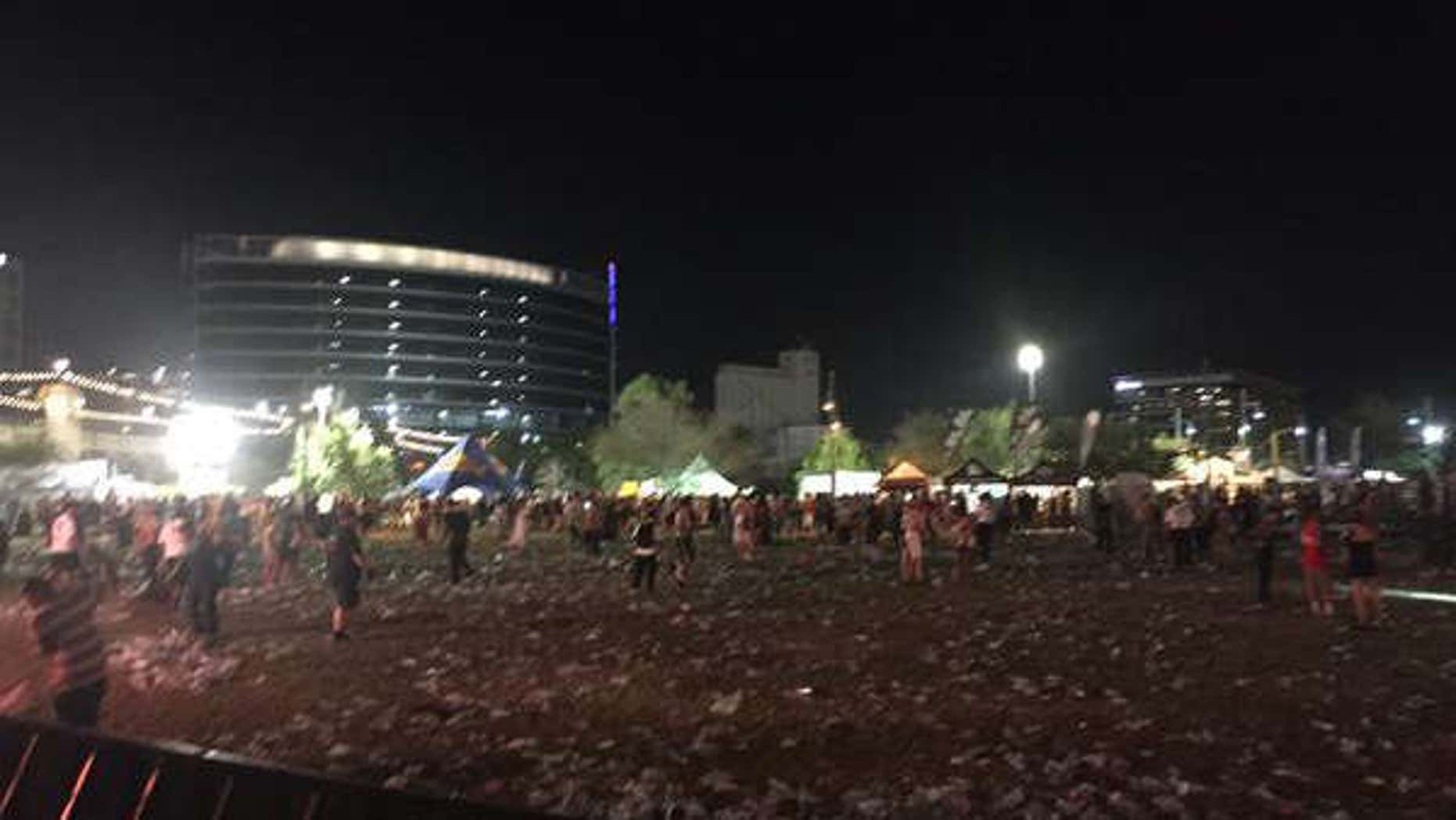 Crowd at the Summer Ends Festival in Tempe, Ariz. begins to clear out.