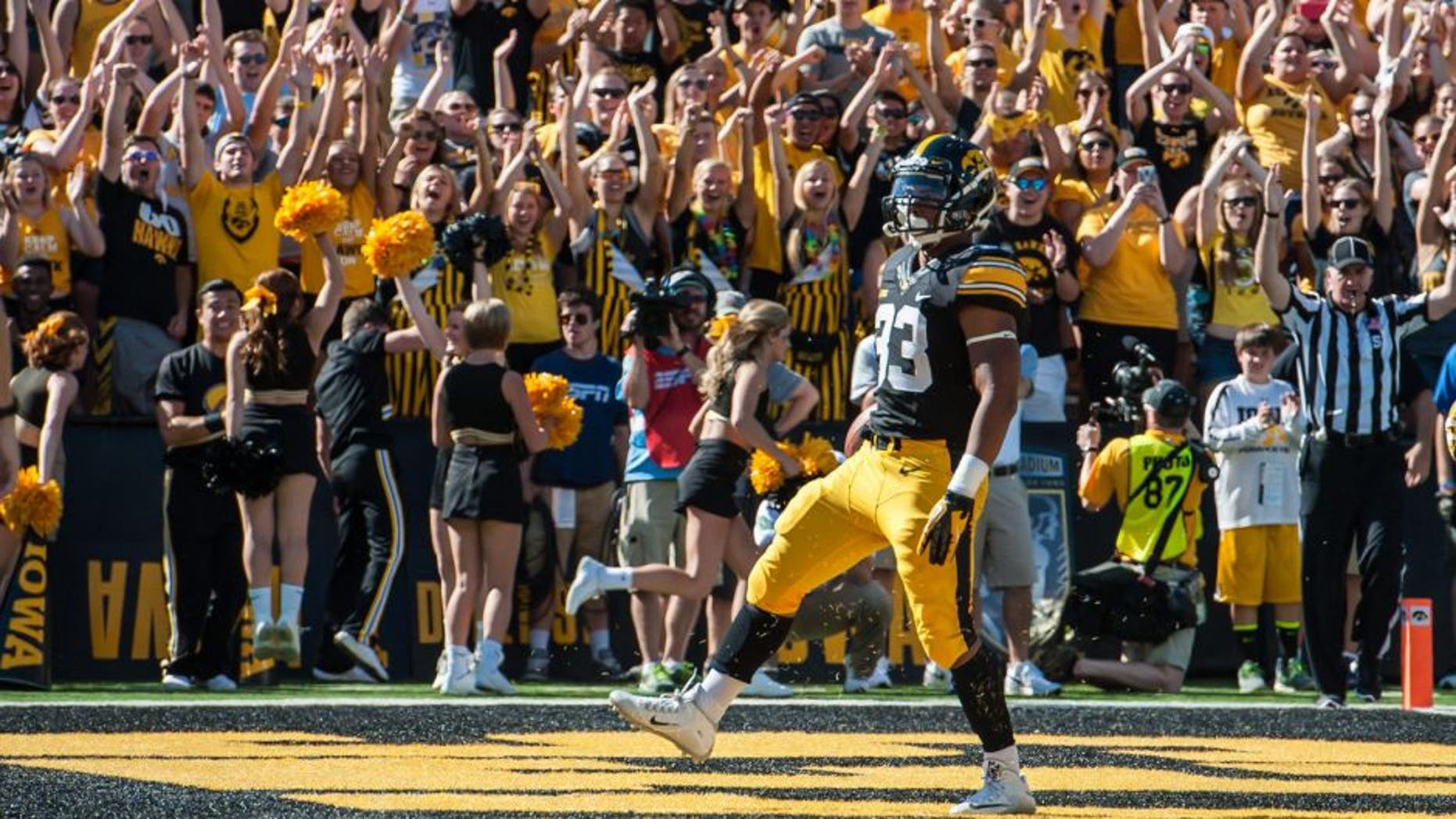 Sep 26, 2015; Iowa City, IA, USA; Iowa Hawkeyes running back Jordan Canzeri (33) celebrates one of his three first half touchdowns against the North Texas Mean Green at Kinnick Stadium. Mandatory Credit: Jeffrey Becker-USA TODAY Sports