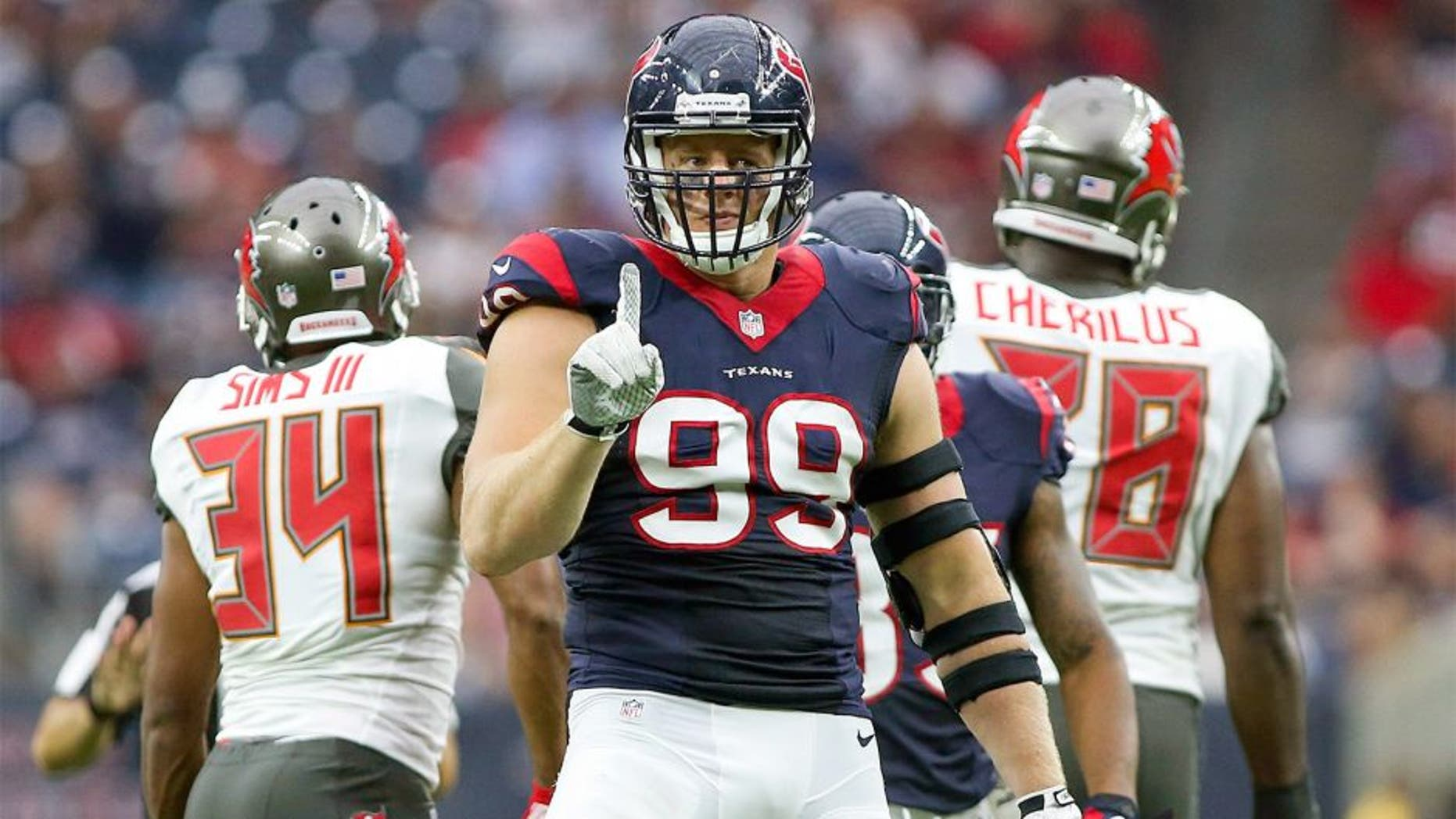Sep 27, 2015; Houston, TX, USA; Houston Texans defensive end J.J. Watt (99) reacts after making a tackle during the second quarter against the Tampa Bay Buccaneers at NRG Stadium. Mandatory Credit: Troy Taormina-USA TODAY Sports