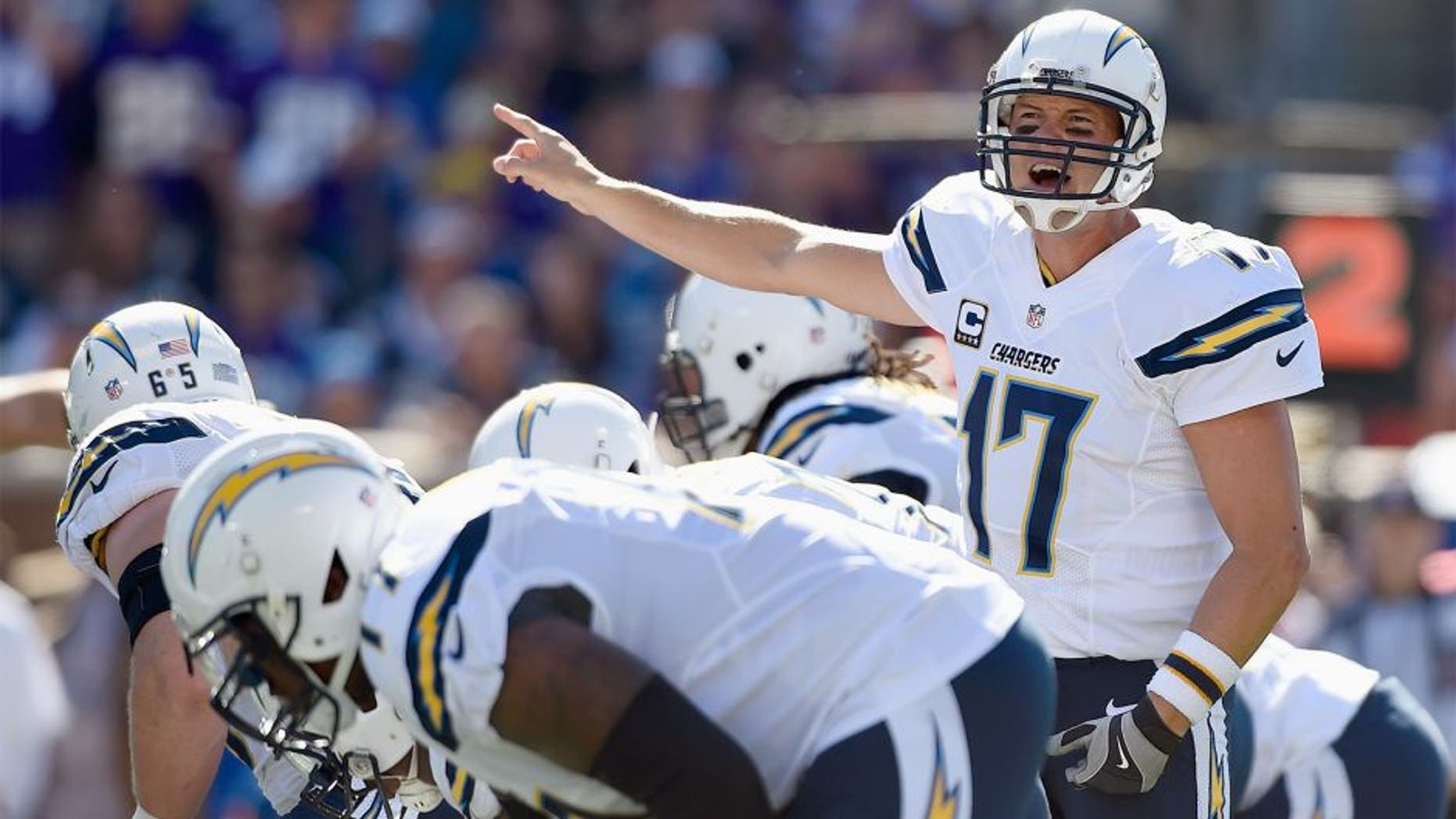 MINNEAPOLIS, MN - SEPTEMBER 27: Philip Rivers #17 of the San Diego Chargers calls a play at the line of scrimmage against the Minnesota Vikings during the first quarter of the game on September 27, 2015 at TCF Bank Stadium in Minneapolis, Minnesota. (Photo by Hannah Foslien/Getty Images)