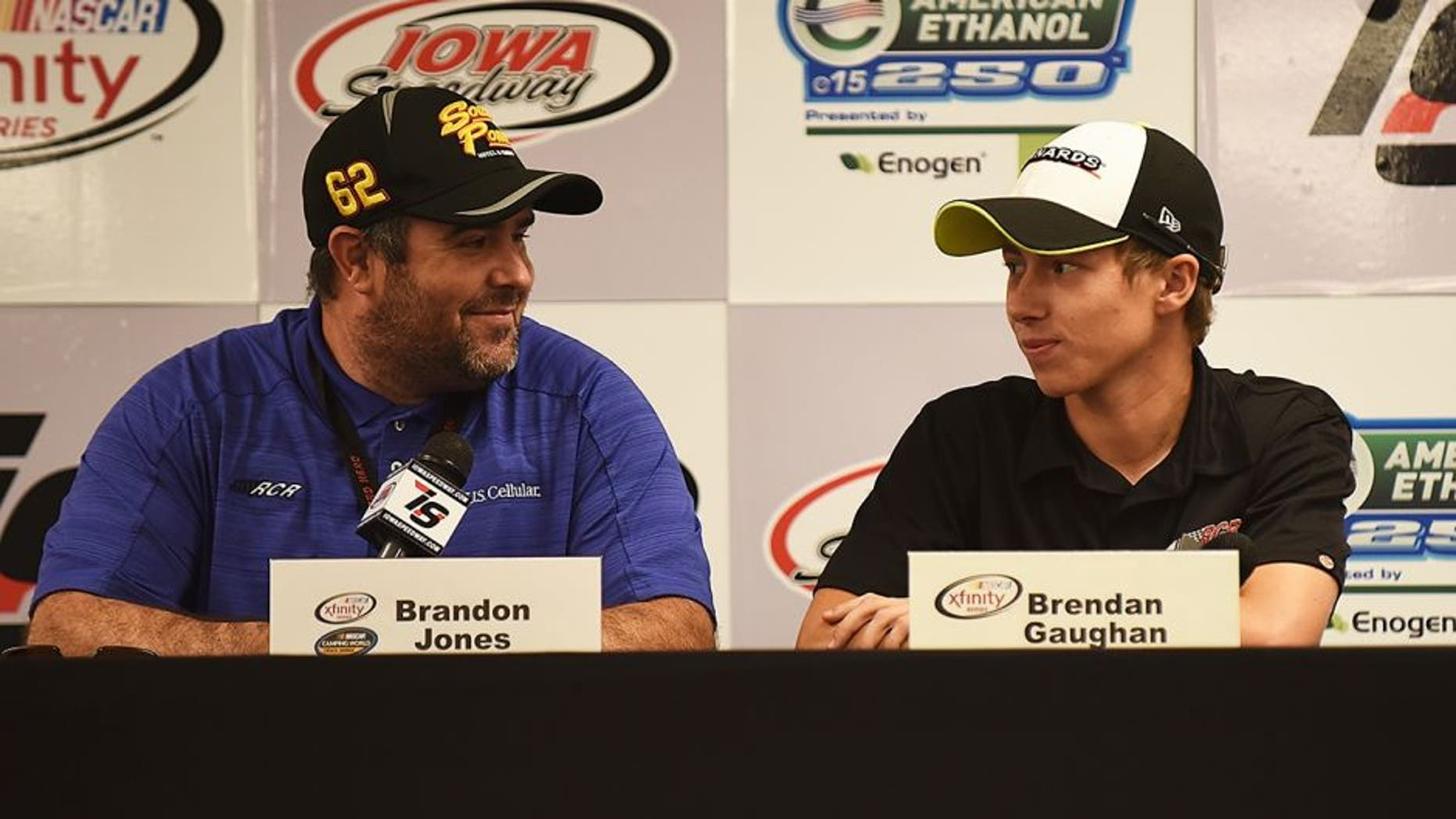 NEWTON, IA - JUNE 18: (L-R) Brendan Gaughan, driver of the #62 South Point Chevrolet and Brandon Jones, driver of the #33 Jeld-Wen / Menards Chevrolet, speak during a press conference at Iowa Speedway on June 18, 2016 in Newton, Iowa. (Photo by Jonathan Moore/NASCAR via Getty Images)