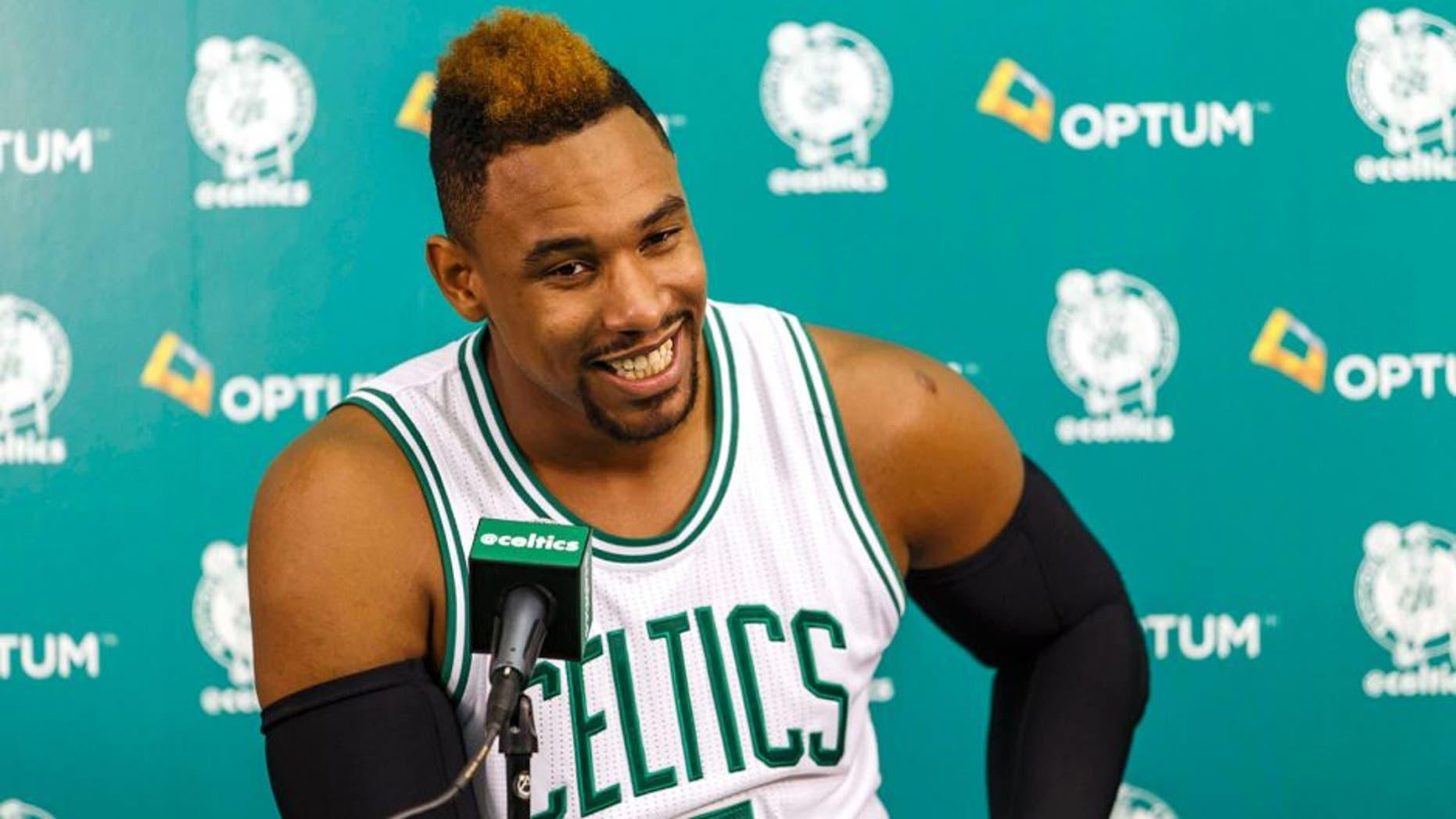 Sep 25, 2015; Waltham, MA, USA; Boston Celtics forward Jared Sullinger (7) during media day at the Boston Celtic Practice Facility. Mandatory Credit: David Butler II-USA TODAY Sports