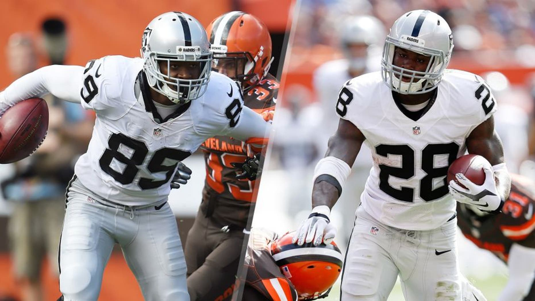 CLEVELAND, OH - SEPTEMBER 27: Amari Cooper #89 of the Oakland Raiders breaks a tackle by Chris Kirksey #58 of the Cleveland Browns during the third quarter at FirstEnergy Stadium on September 27, 2015 in Cleveland, Ohio. (Photo by Jason Miller/Getty Images) CLEVELAND, OH - SEPTEMBER 27: Latavius Murray #28 of the Oakland Raiders breaks a tackle by Pierre Desir #26 of the Cleveland Browns during the third quarter at FirstEnergy Stadium on September 27, 2015 in Cleveland, Ohio. (Photo by Joe Robbins/Getty Images)