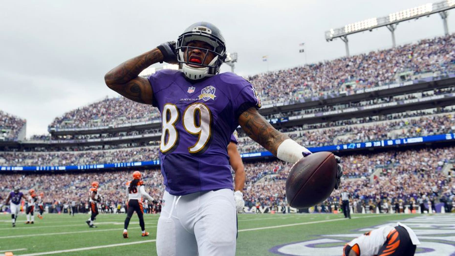 Sep 27, 2015; Baltimore, MD, USA; ) Baltimore Ravens wide receiver Steve Smith (89) celebrates after hits touchdown during the third quarter against the Cincinnati Bengals at M&T Bank Stadium. Mandatory Credit: Tommy Gilligan-USA TODAY Sports