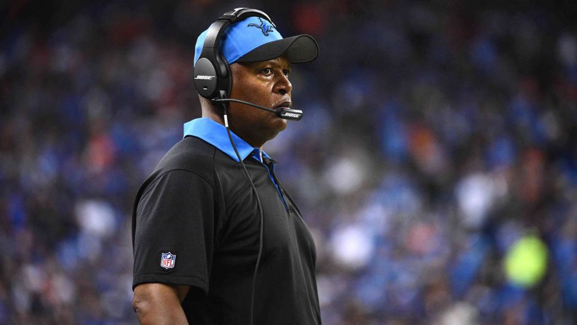 Sep 27, 2015; Detroit, MI, USA; Detroit Lions head coach Jim Caldwell looks on during the third quarter against the Denver Broncos at Ford Field. Mandatory Credit: Tim Fuller-USA TODAY Sports