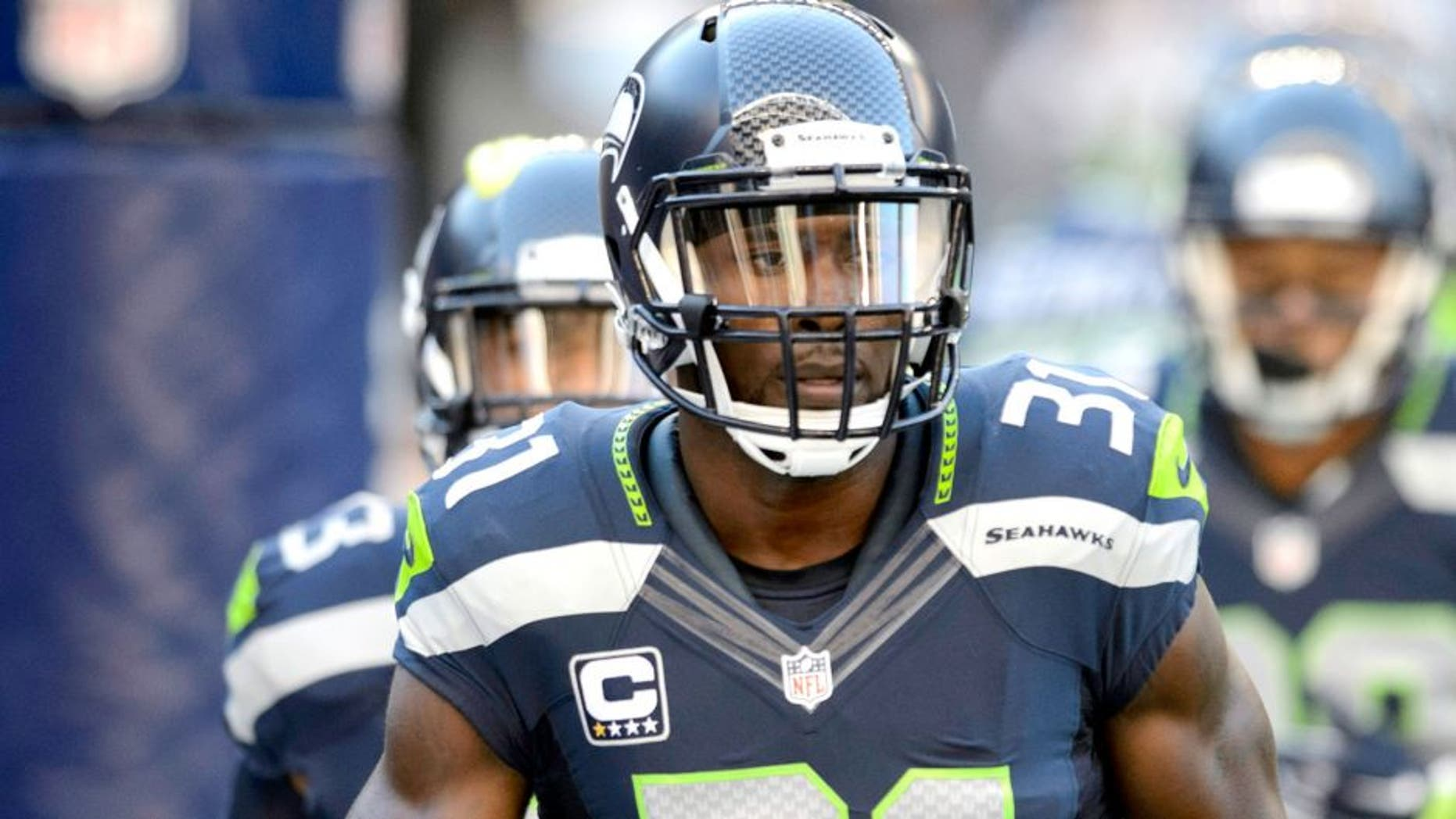 Sep 4, 2014; Seattle, WA, USA; Seattle Seahawks strong safety Kam Chancellor (31) during pre game warm ups prior to the game against the Green Bay Packers at CenturyLink Field. Mandatory Credit: Steven Bisig-USA TODAY Sports