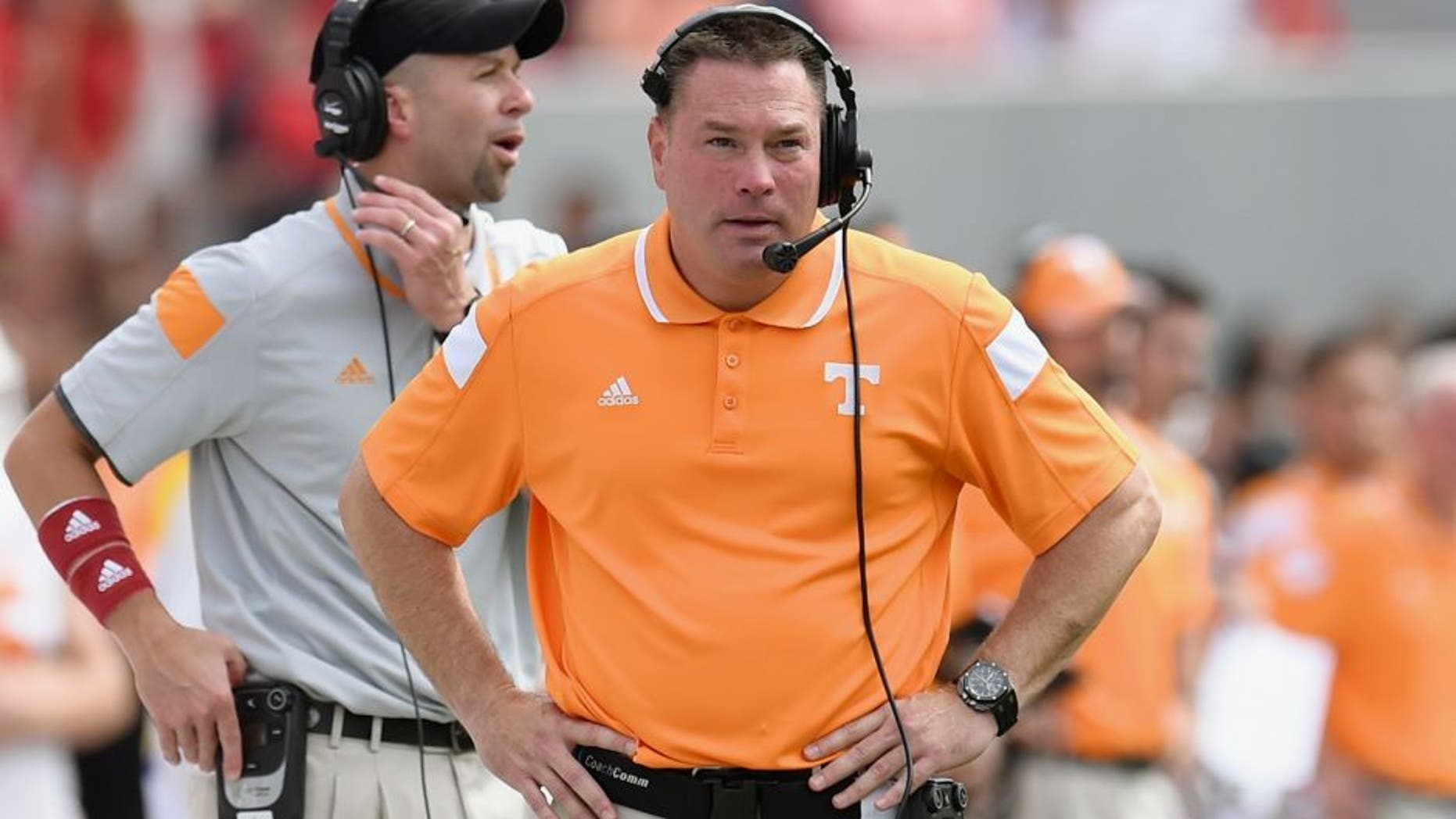 Sep 27, 2014; Athens, GA, USA; Tennessee Volunteers head coach Butch Jones shown on the sidelines against the Georgia Bulldogs during the first half at Sanford Stadium. Georgia defeated Tennessee 35-32. Mandatory Credit: Dale Zanine-USA TODAY Sports