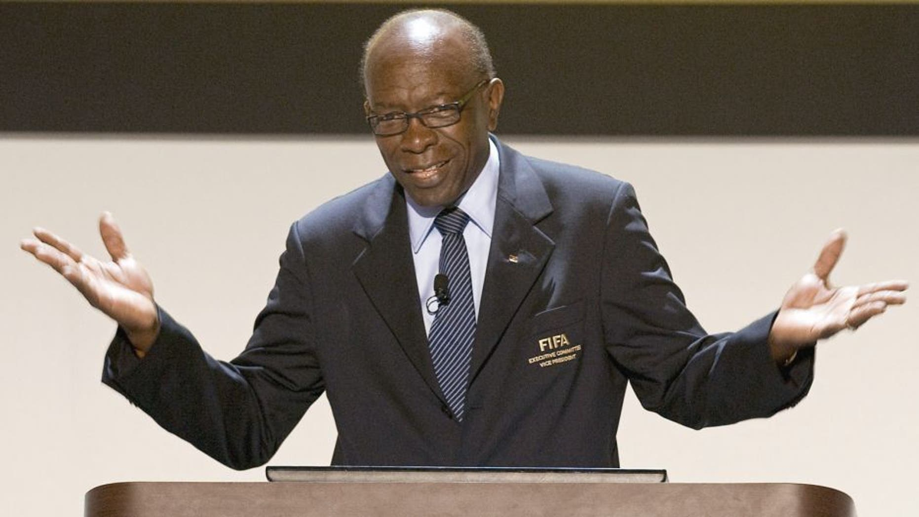 A picture taken on April 27, 2011 shows FIFA's vice-president Jack Warner in Cartagena. Jack Warner, the central figure in recent bribery allegations, has resigned from his post, world football's governing body confirmed on June 20, 2011. AFP PHOTO / Luis Acosta (Photo credit should read LUIS ACOSTA/AFP/Getty Images)