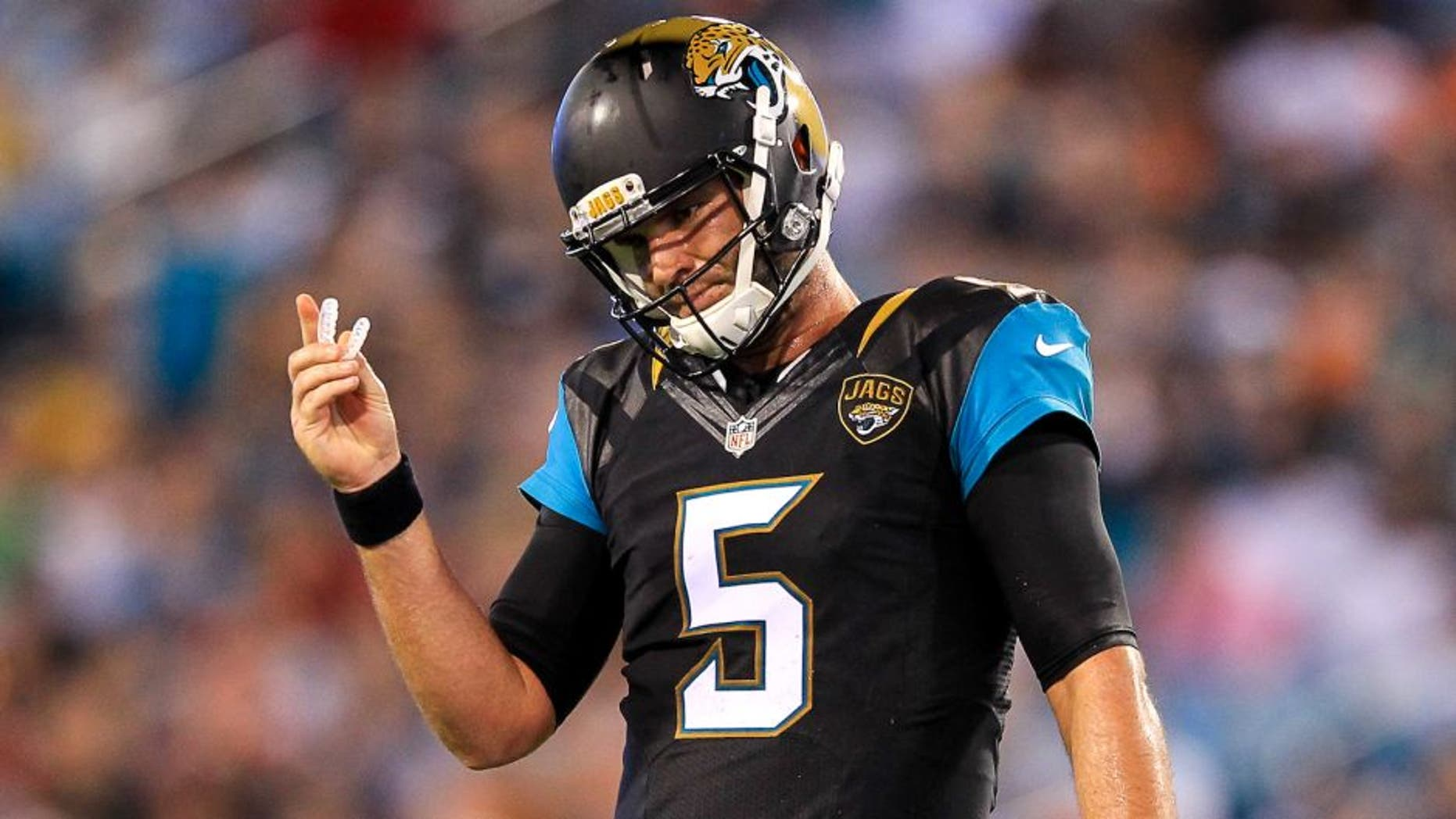 JACKSONVILLE, FL - AUGUST 28: Blake Bortles #5 of the Jacksonville Jaguars reacts during the preseason game against the Cincinnati Bengals at EverBank Field on August 28, 2016 in Jacksonville, Florida. (Photo by Rob Foldy/Getty Images)