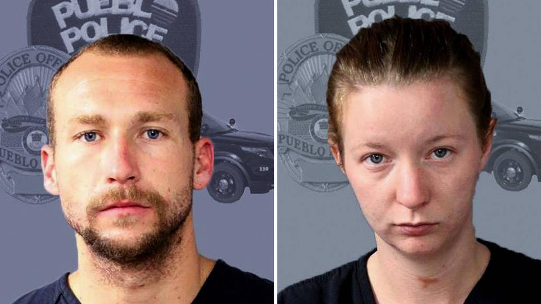 FILE - This undated booking file photo released by the Pueblo, Colo., Police Department shows Joshua Robertson and Brittney Humphrey. The California couple was charged with murder in the shooting death of a relative and the kidnapping of her young children. The Los Angeles County District Attorney's Office announced the charges Thursday, Sept. 22, 2016, against Robertson and Humphrey. (Pueblo Police Department via AP, File)