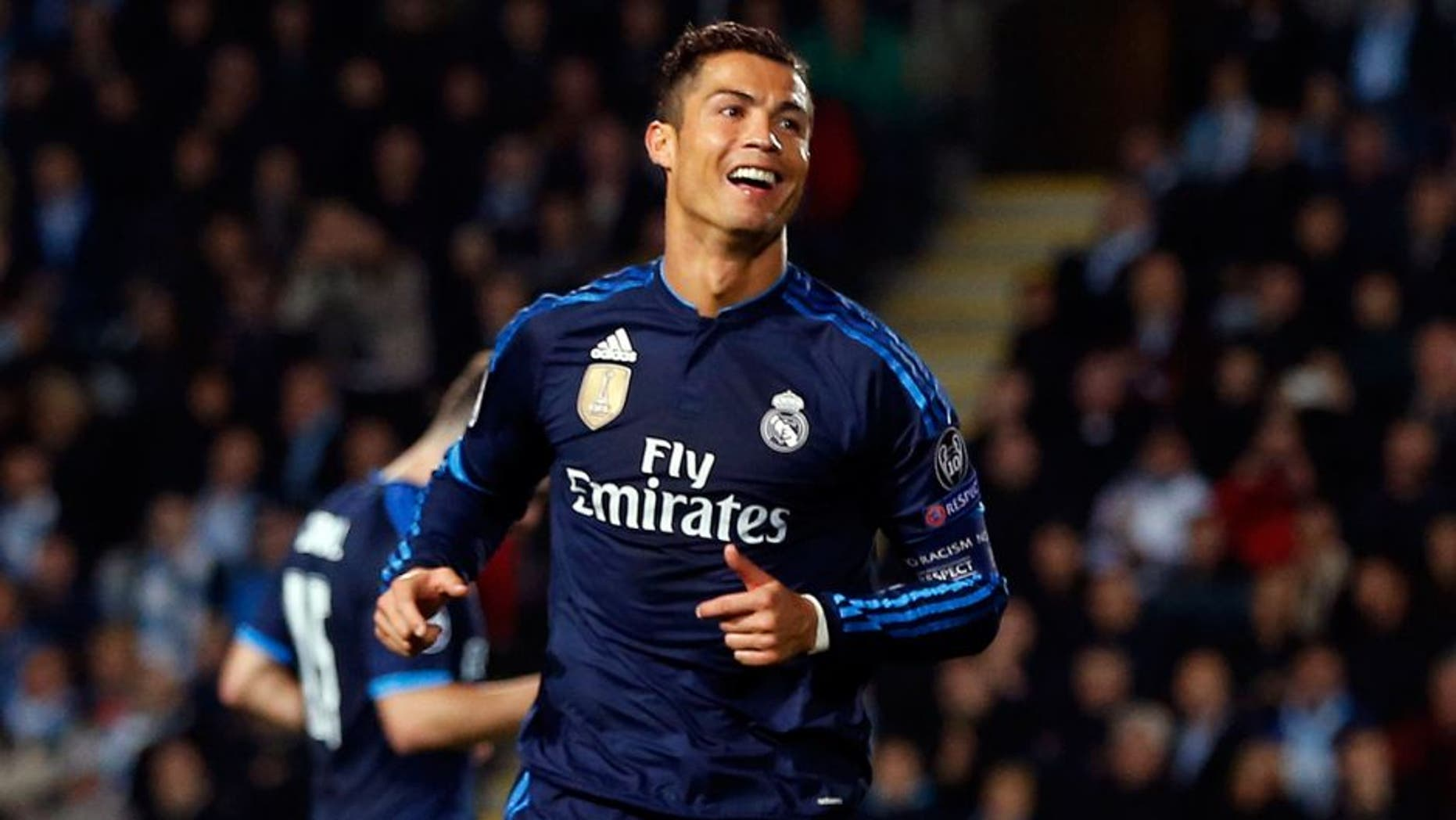 MALMO, SWEDEN - SEPTEMBER 30: Cristiano Ronaldo of Real Madrid celebrates after scoring during the UEFA Champions League Group A match between Malmö FF and Real Madrid CF at Swedbank Stadion on September 30, 2015 in Malmo, Sweden. (Photo by Antonio Villalba/Real Madrid via Getty Images)