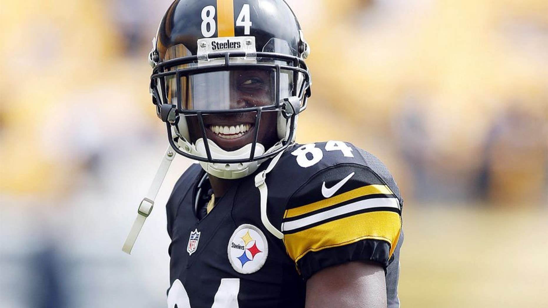 Sep 28, 2014; Pittsburgh, PA, USA; Pittsburgh Steelers wide receiver Antonio Brown (84) smiles on the field before playing the Tampa Bay Buccaneers at Heinz Field. Mandatory Credit: Charles LeClaire-USA TODAY Sports