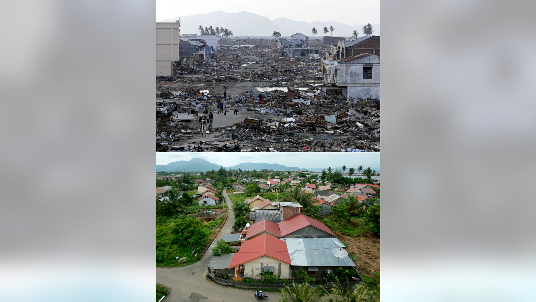 This combination of photos shows areas affected by the earthquake-triggered tsunami which hit Banda Aceh, the capital of Aceh province, Indonesia, on Dec 25, 2004. The top photo shows a devastated area on Dec 31, 2004, six days after the tsunami. The bottom photo shows an area with rebuilt housing on Nov. 19, 2013. Aceh's reconstruction didn't always run smoothly, especially during the first year, but it is now almost universally regarded as successful. Around 130,000 houses were built in less than three years, along with scores of airports, roads and schools. It was the biggest construction project in the developing world. The man who steered Indonesia to recovery after the 2004 tsunami has some cautionary words for the Philippines as it begins planning reconstruction after Typhoon Haiyan. Hundreds of thousands of homeless survivors will get angry about living in tents well before houses will be ready for them, and inflation will soon make those houses much more expensive to build. (AP Photo)