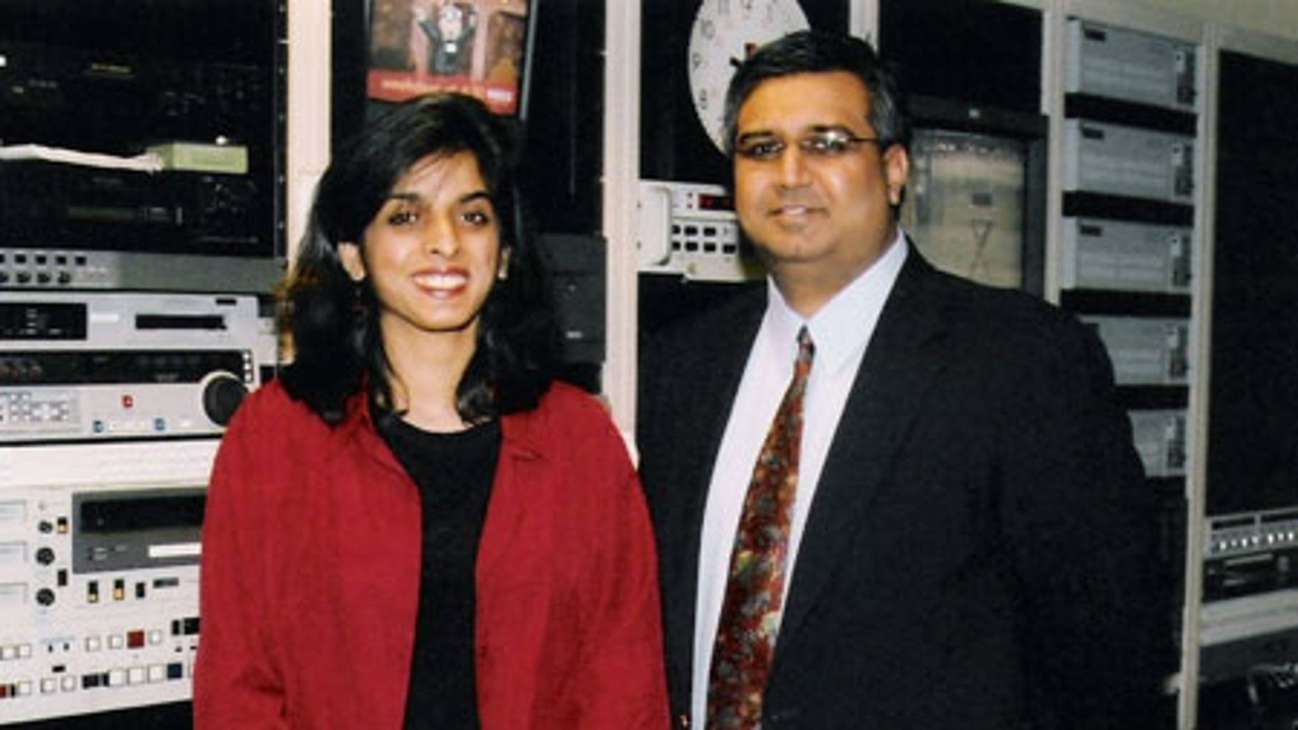 Muzzammil Hassan, right, founder of Bridges TV, is charged with murder in the beheading of his wife, Aasiya Hassan, left, in Orchard Park, N.Y.