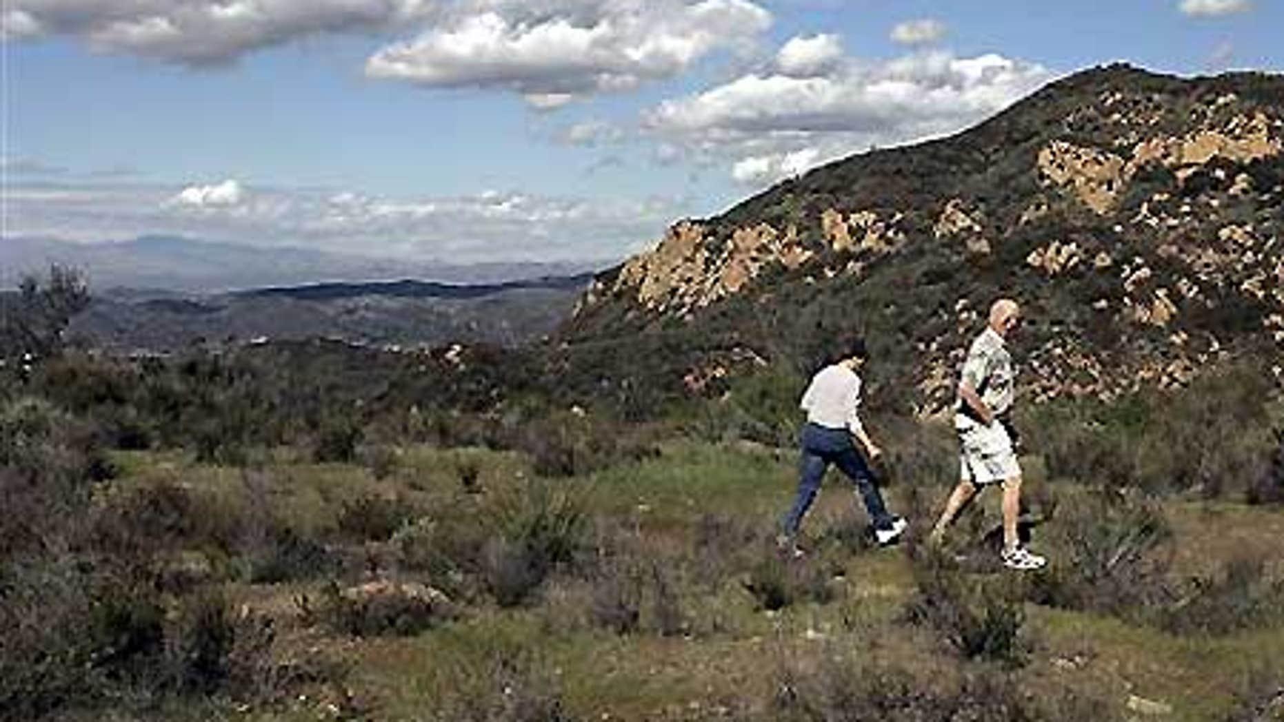 Negrohead Mountain as seen from a bluff above Kanan Road near Malibu, Calif.