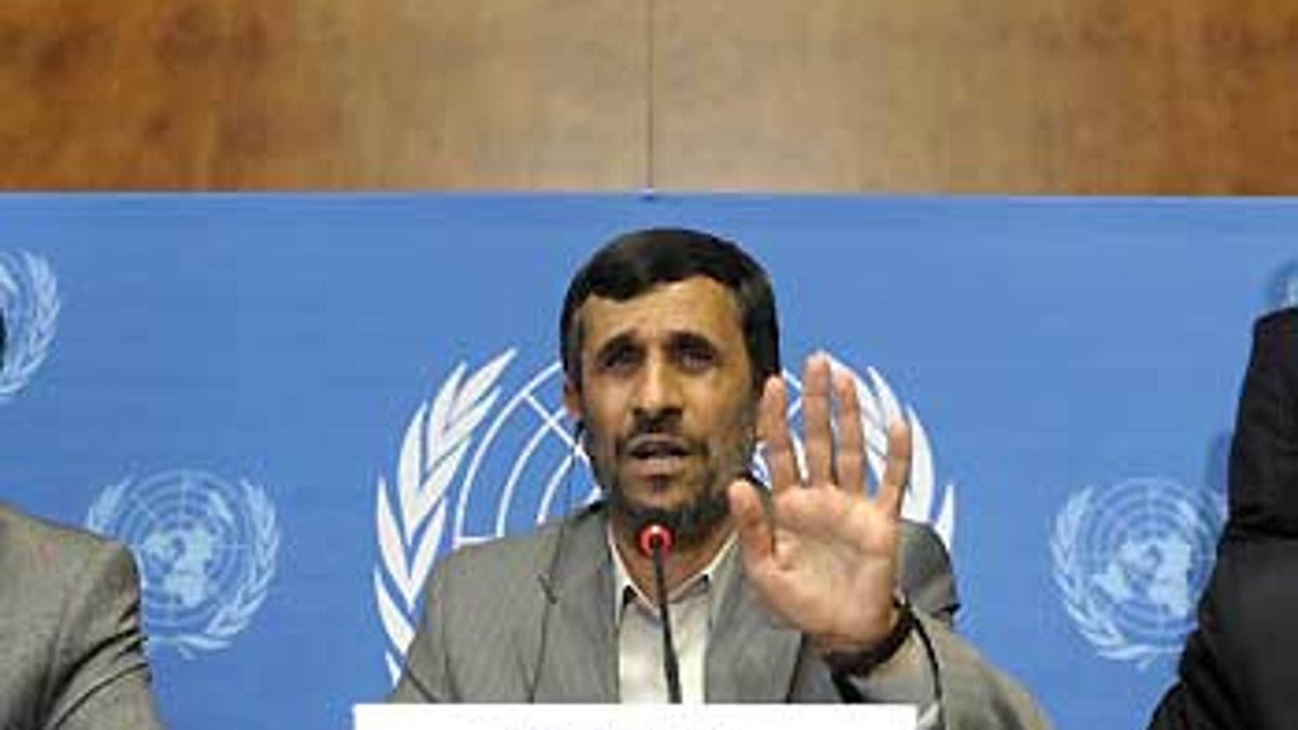 April 20: Iranian President Mahmoud Ahmadinejad speaks during a press conference at the U.N.'s Conference against Racism in Geneva.