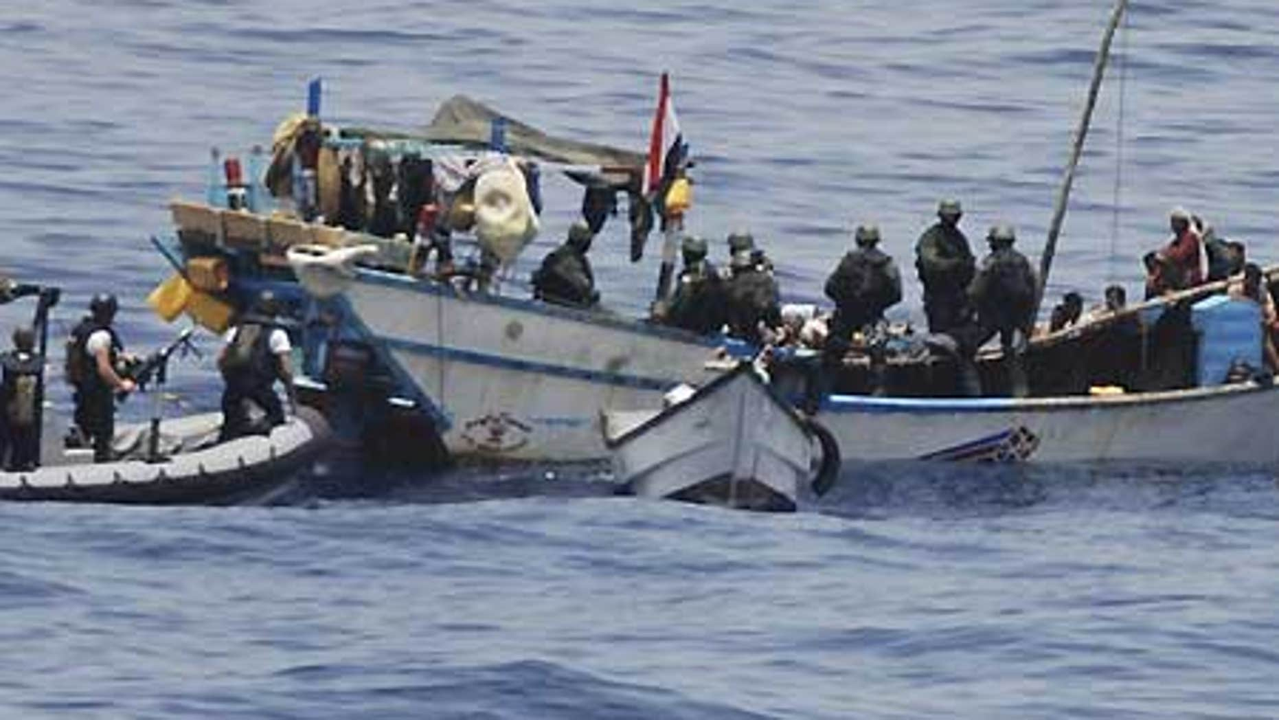 April 18: Dutch marines board Yemeni fishing boat held by nine pirates in the Gulf of Aden.