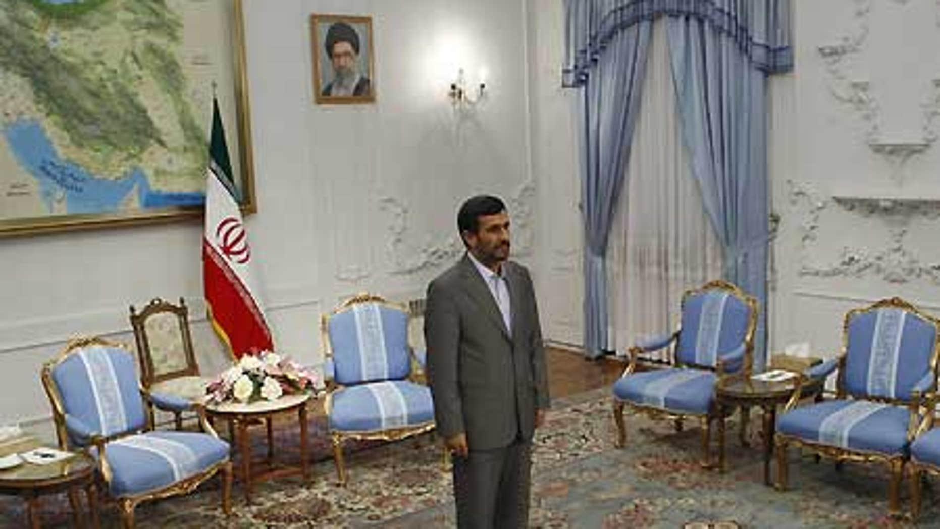 Sept. 7: Iranian President Mahmoud Ahmadinejad waits to meet the Iraqi parliament speaker, Ayad al-Samarraie.