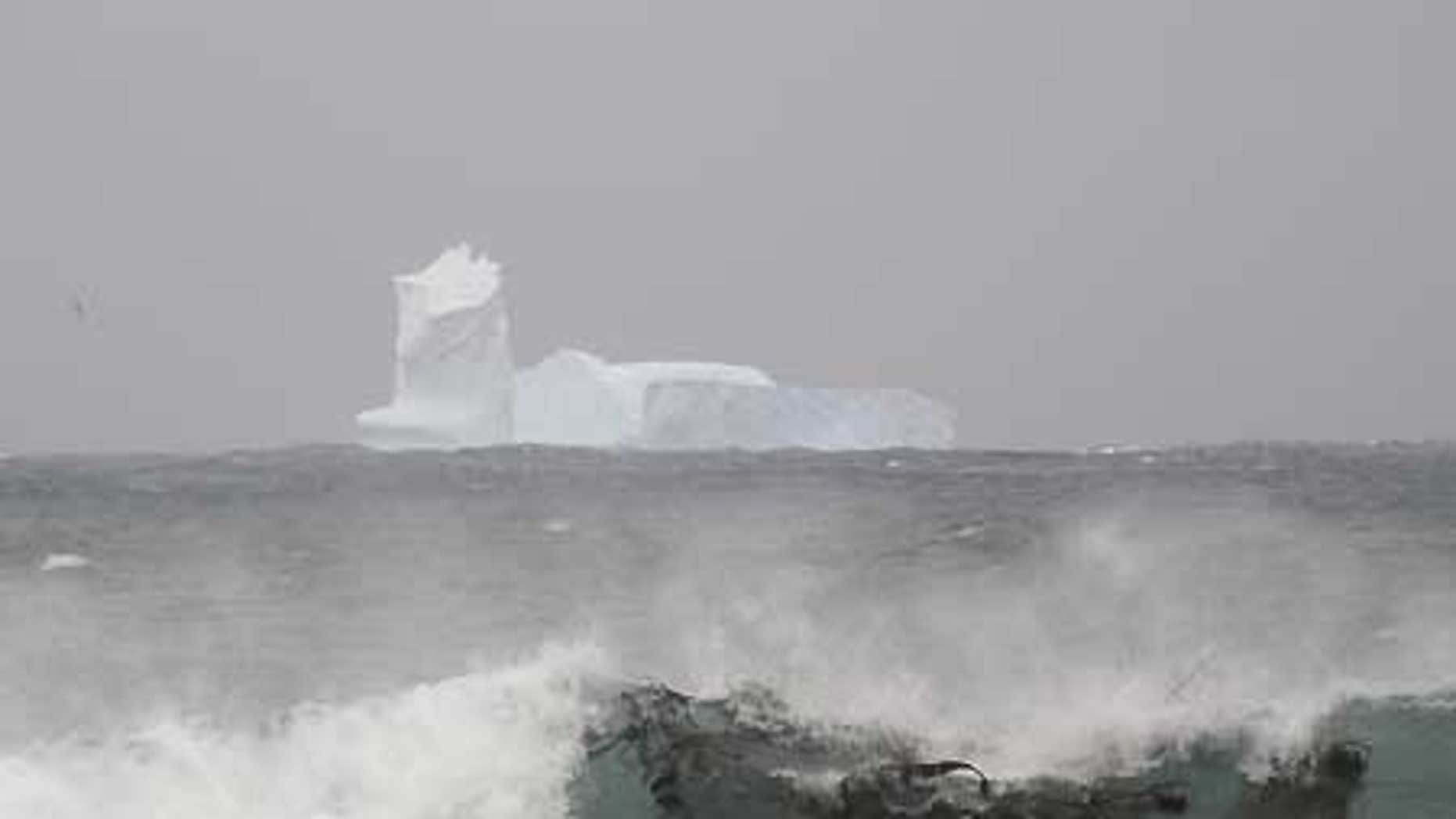 Nov. 24: In this photo released by the Australian Antarctic Division, an iceberg is seen at Sandy Bay on Macquarie Island's east coast.