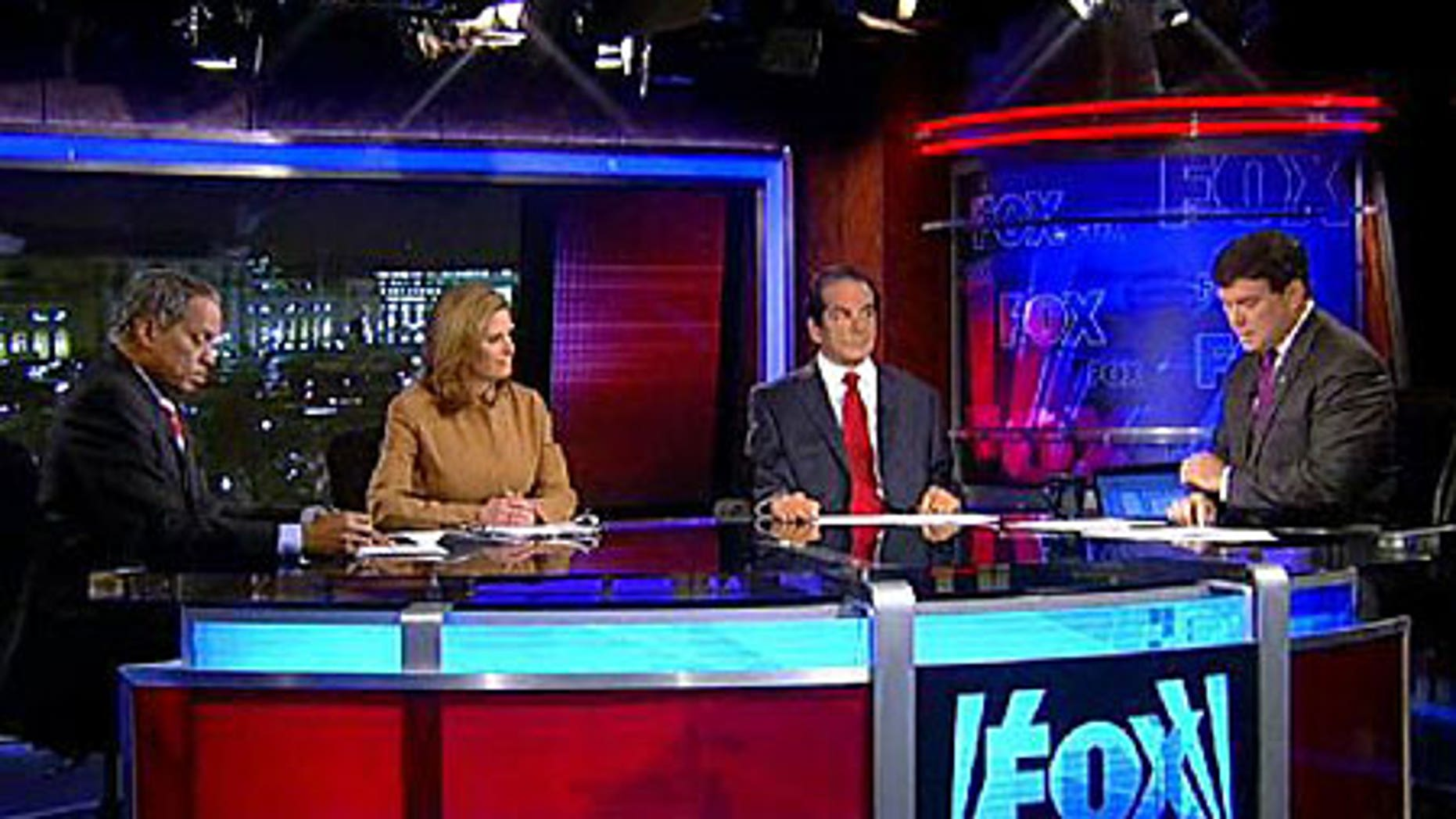 From left: Juan Williams, Nina Easton, Charles Krauthammer and Bret Baier