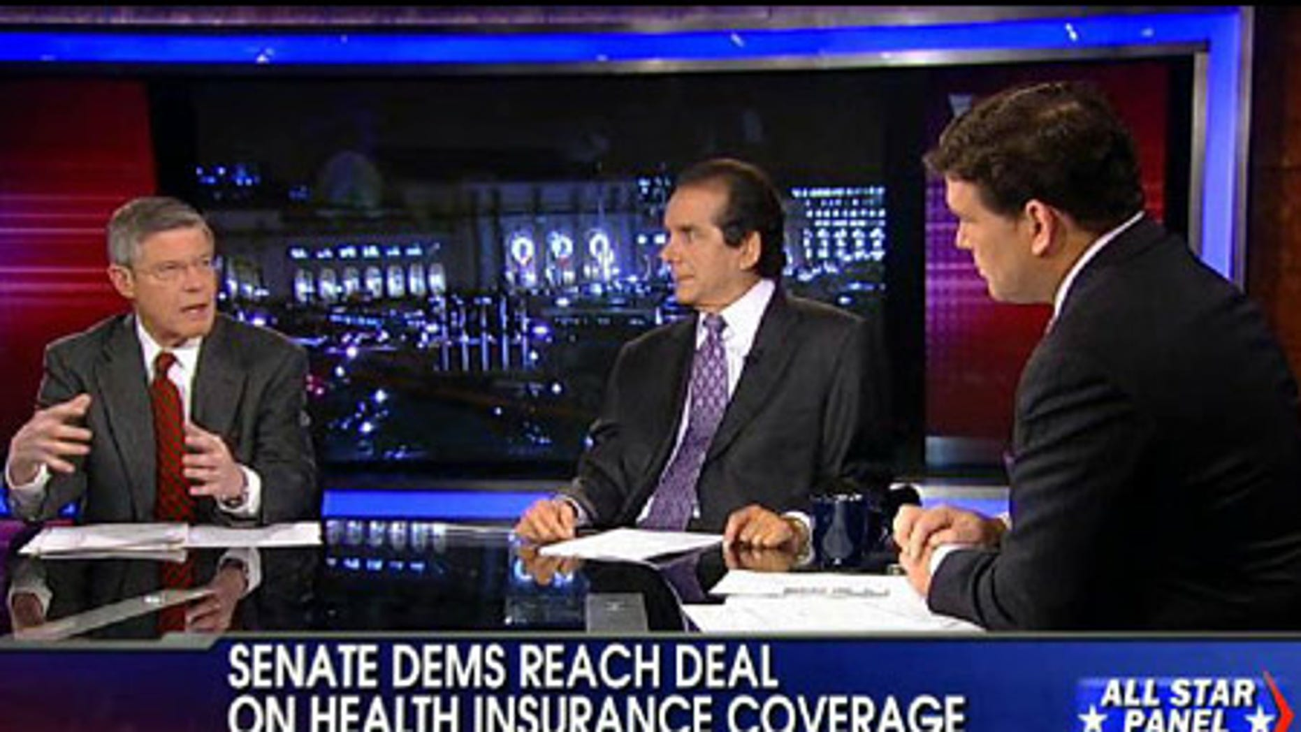 Mort Kondracke with Charles Krauthammer and Bret Baier, host