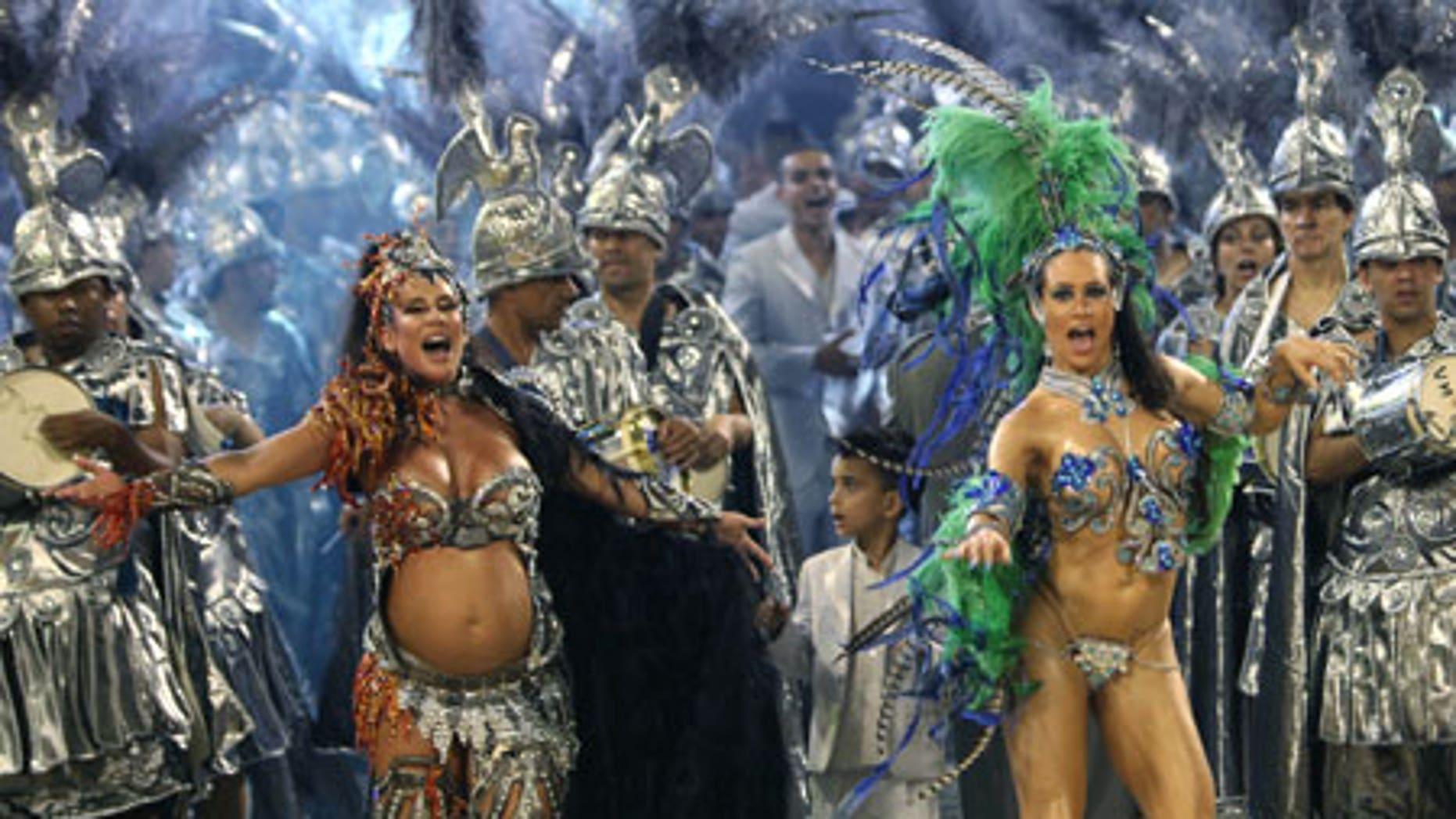 Feb. 13: Dancers perform during the parade of Unidos de Vila Maria samba school at the Sambadrome.
