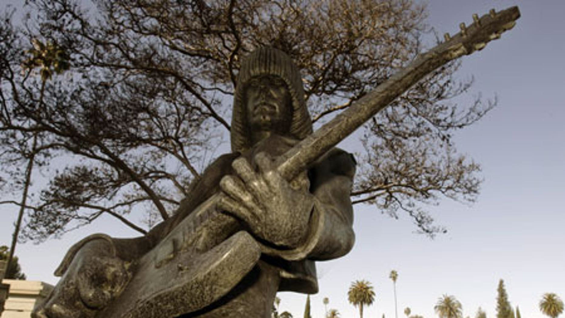 Jan. 27: A statue of Johnny Ramone marks his burial site at Hollywood Forever.