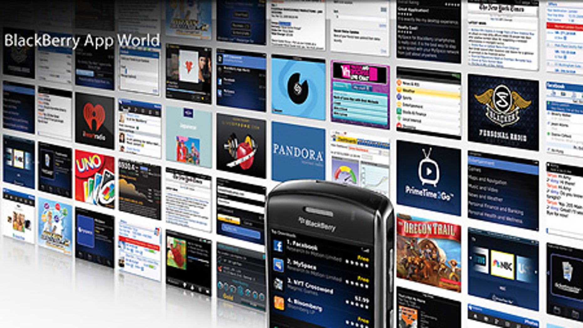 A Research In Motion photo illustration of a BlackBerry Curve 8900 and various BlackBerry App World screens.