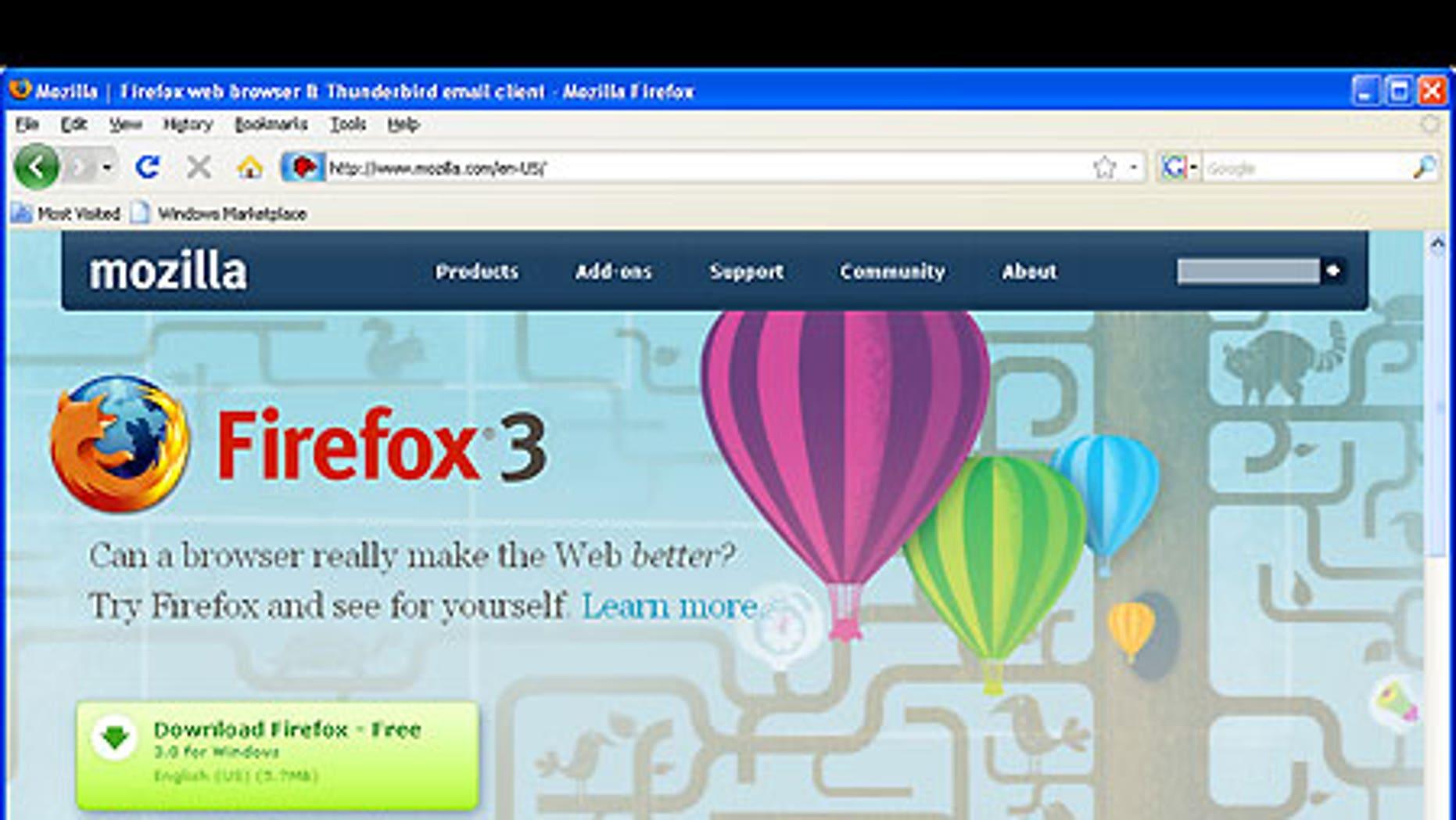 Mozilla's Firefox 3 running in Microsoft's Windows XP.