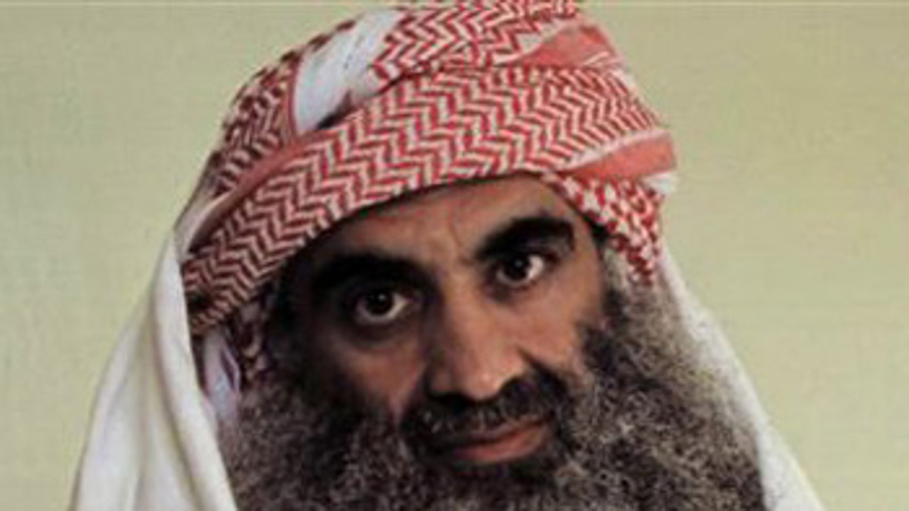 A man identified by an Arabic language Web site as Khalid Sheik Mohammed is seen in detention at Guantanamo Bay, Cuba.