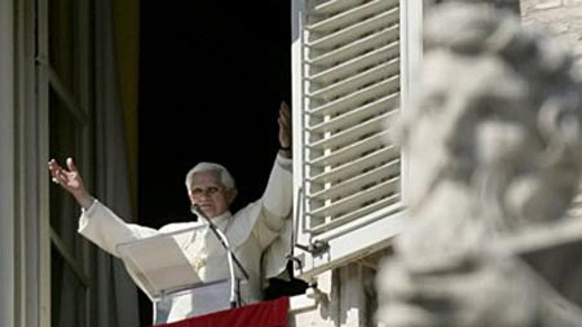 March 8: Pope Benedict XVI greets the faithful during the Angelus noon prayer in St. Peter's Square at the Vatican.
