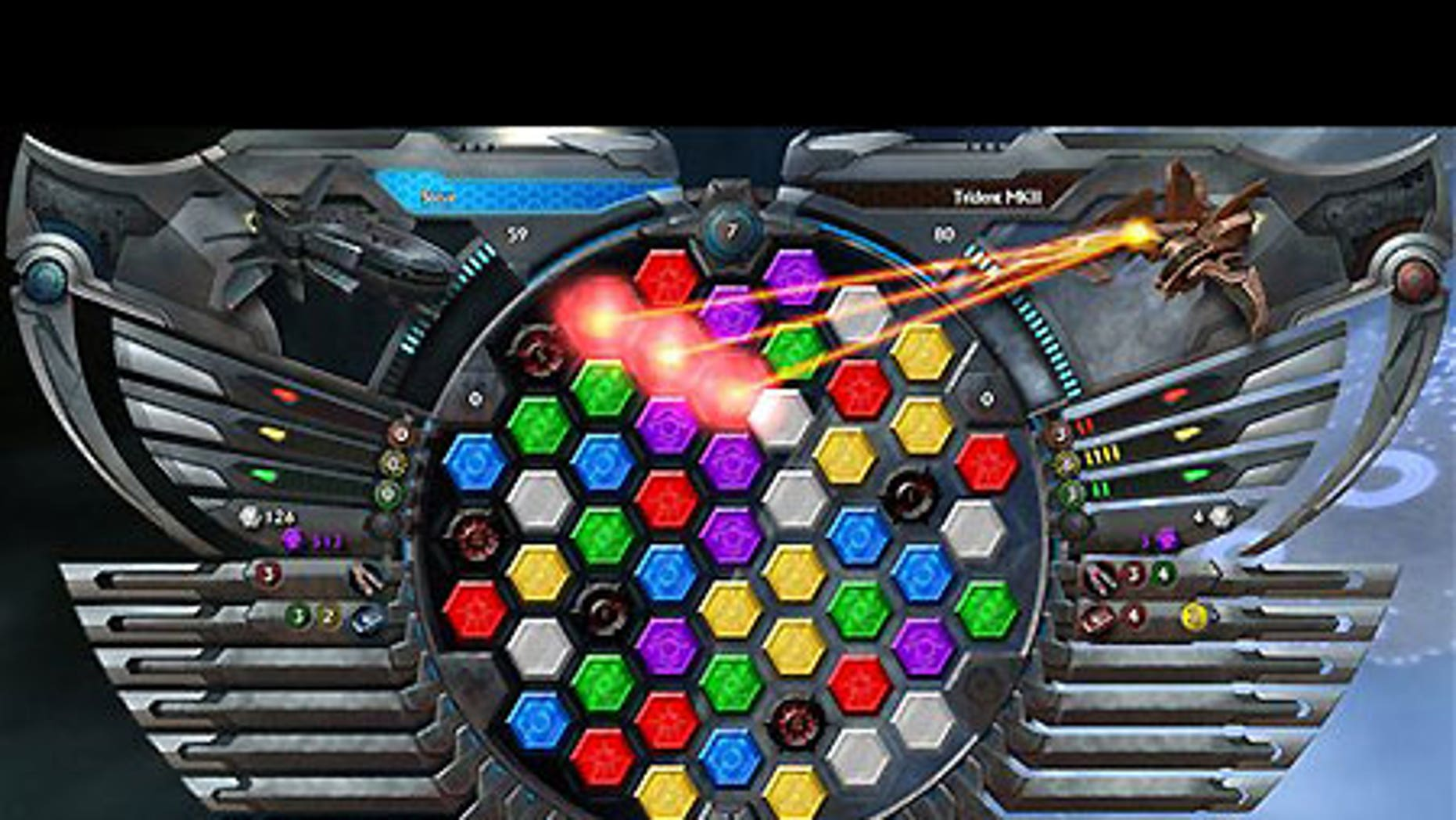 A screen shot from 'Puzzle Quest: Galactrix,' which takes the gem-matching strategy of the original game and shoots it into outer space.