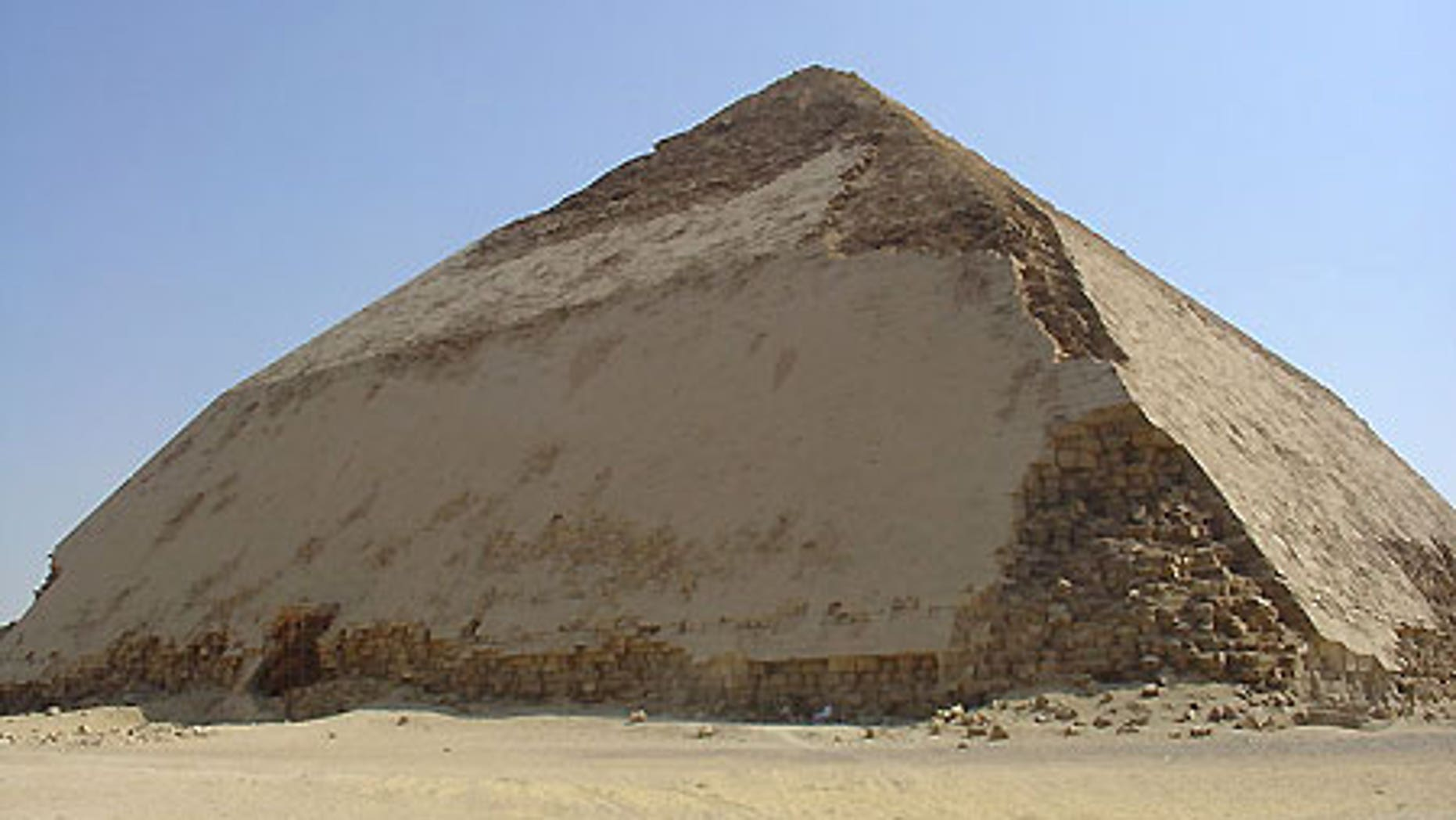 The famous Bent Pyramid constructed by the 4th-dynasty pharaoh Sneferu in about 2600 B.C. in Dahshur, 50 miles south of present-day Cairo.
