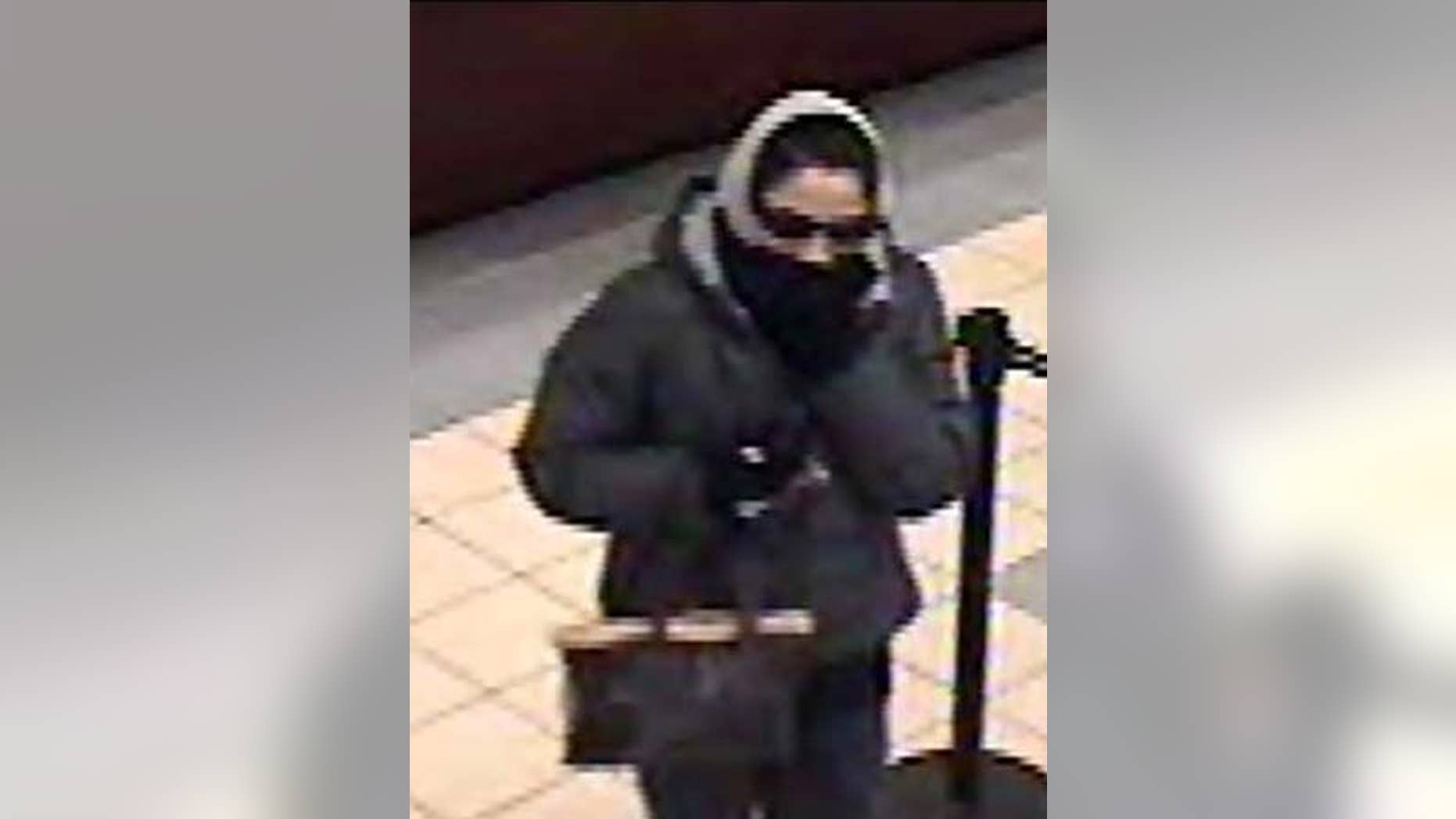 This police handout photo shows a woman police say robbed at least three banks in Long Island.