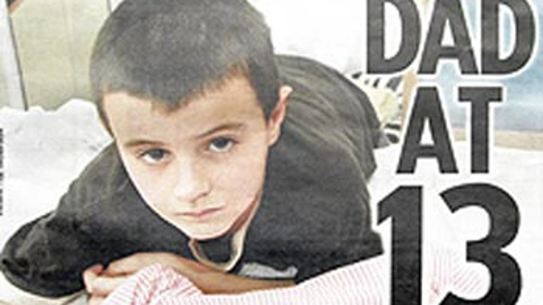 This image shows the cover of The Sun featuring 13-year-old Alfie Patten.