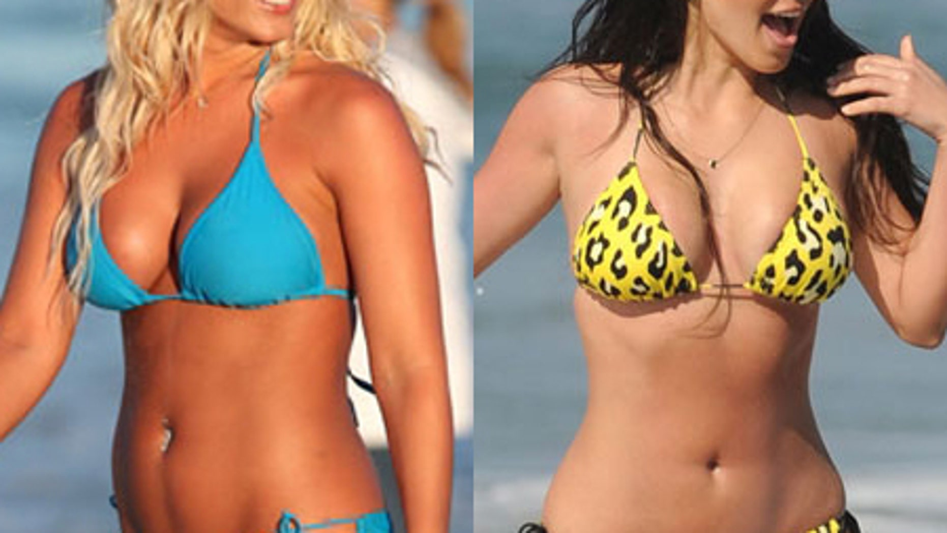 Two of Hollywood's full-figured femme fatales hit the beach in bright bikinis.