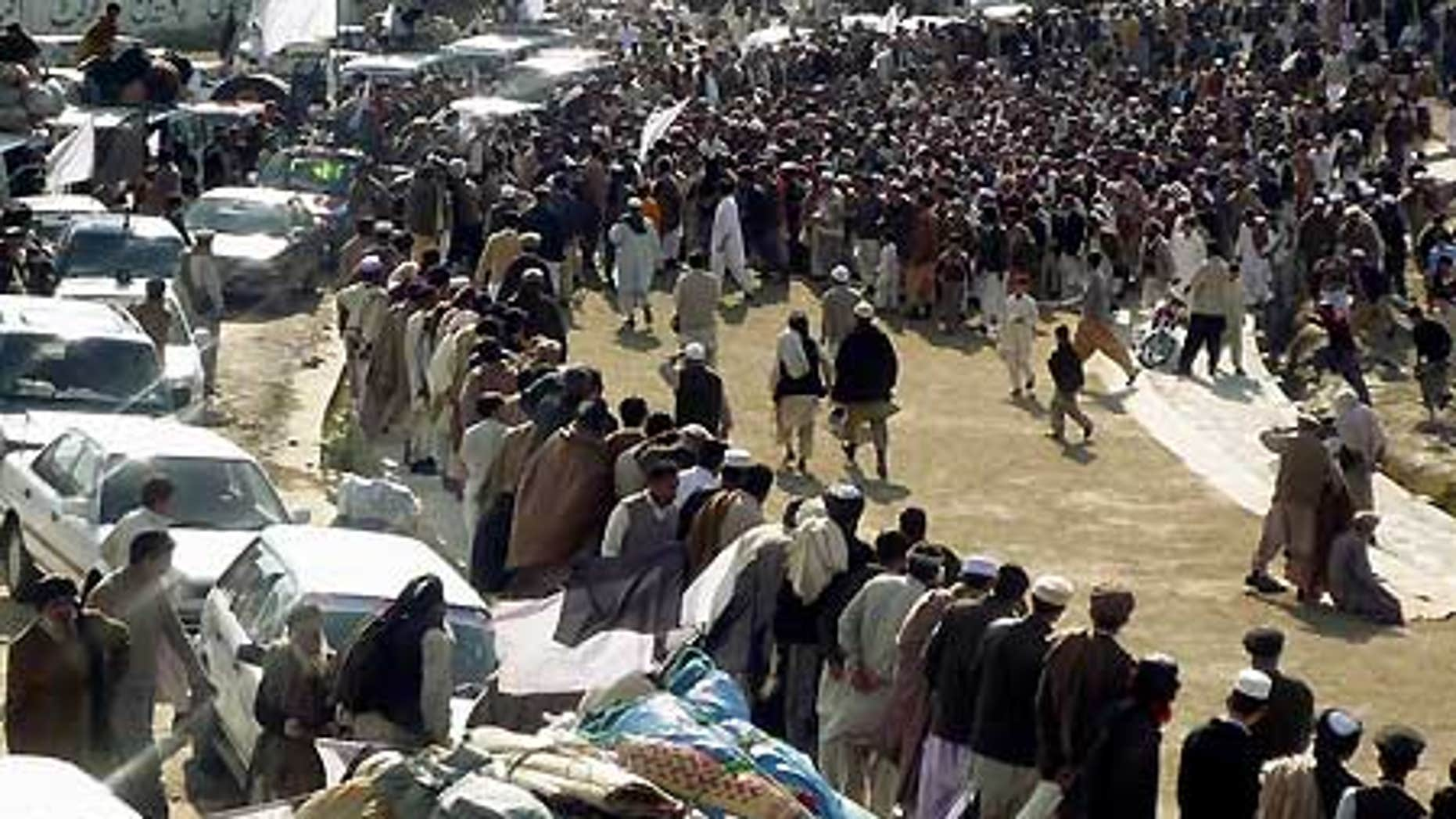 Feb. 17: A crowd gathers in Mingora, a city in the troubled Swat valley, Pakistan.