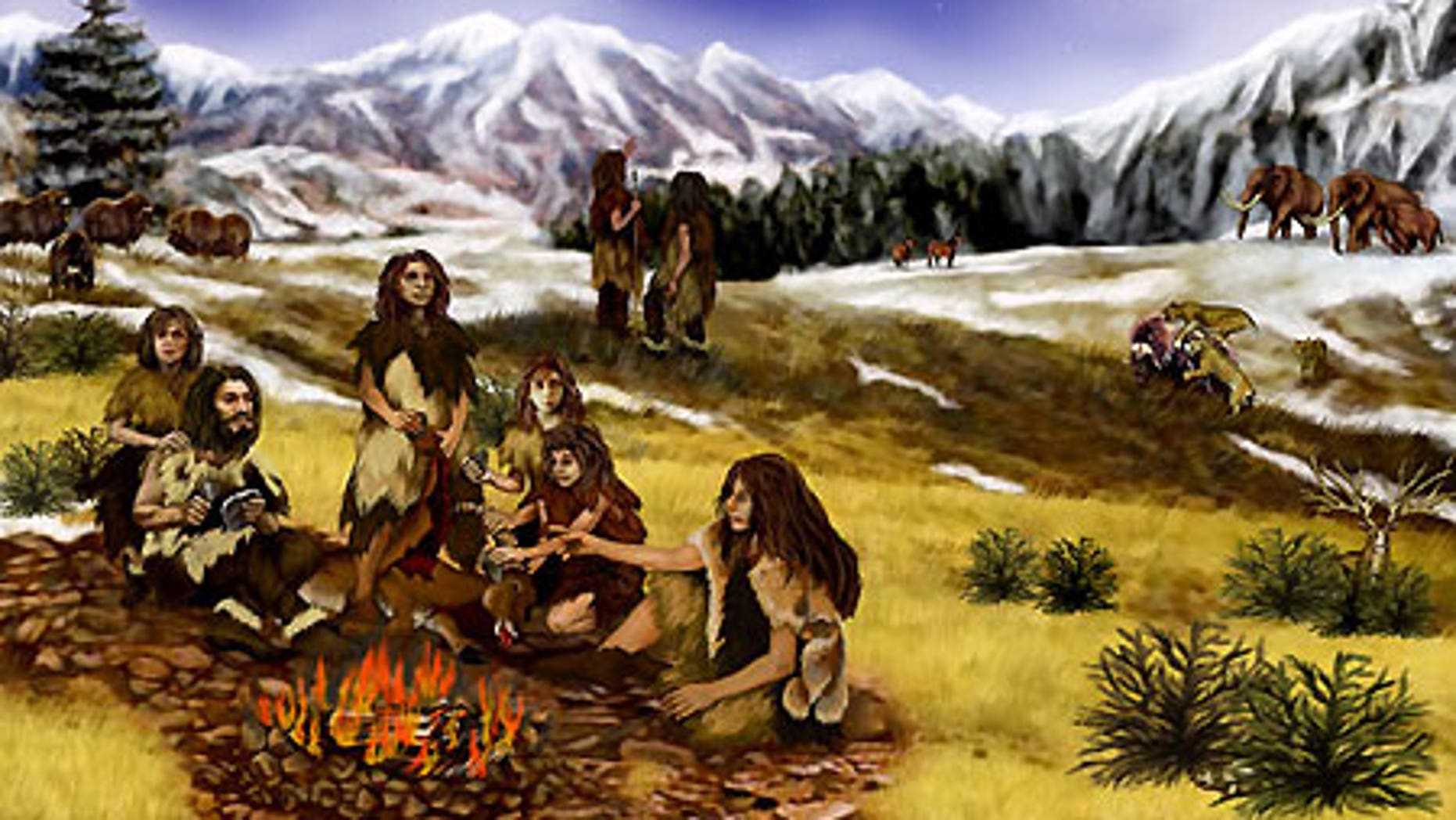 An artist's rendition of a Neanderthal family in Ice Age Europe.