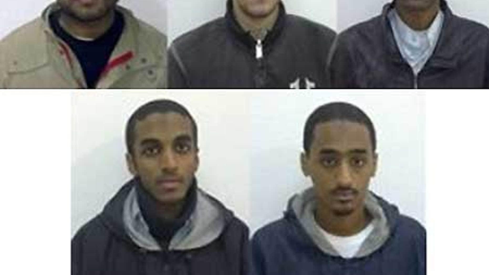 American Muslims, from left, Waqir Hussain Khan, Ramys Zamzam, Umar Farooq, Ahmad Abdulminni, Aman Hasan Yamer.